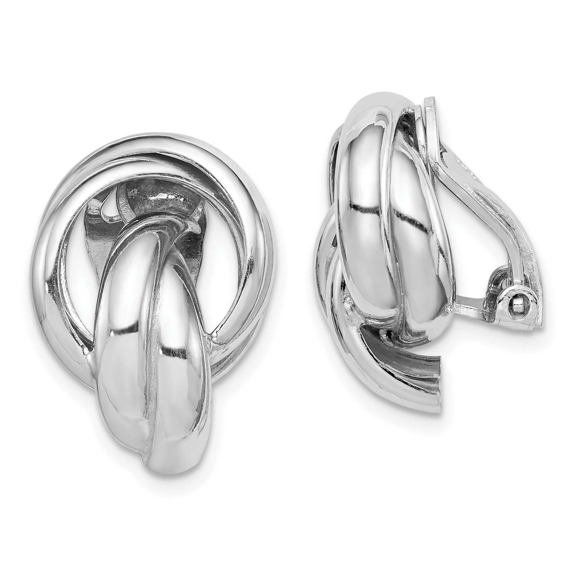 Sterling Silver Rhodium Plated Knot Design Clip Back Non Pierced Earrings Weight 4 64 Grams Length 19mm Width 13mm