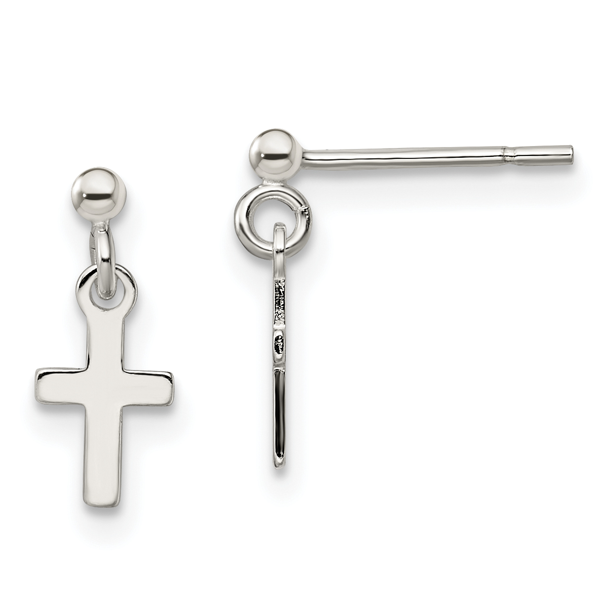 Sterling Silver Cross Post Earrings Weight 0 6 Grams Length 24mm Width 7mm
