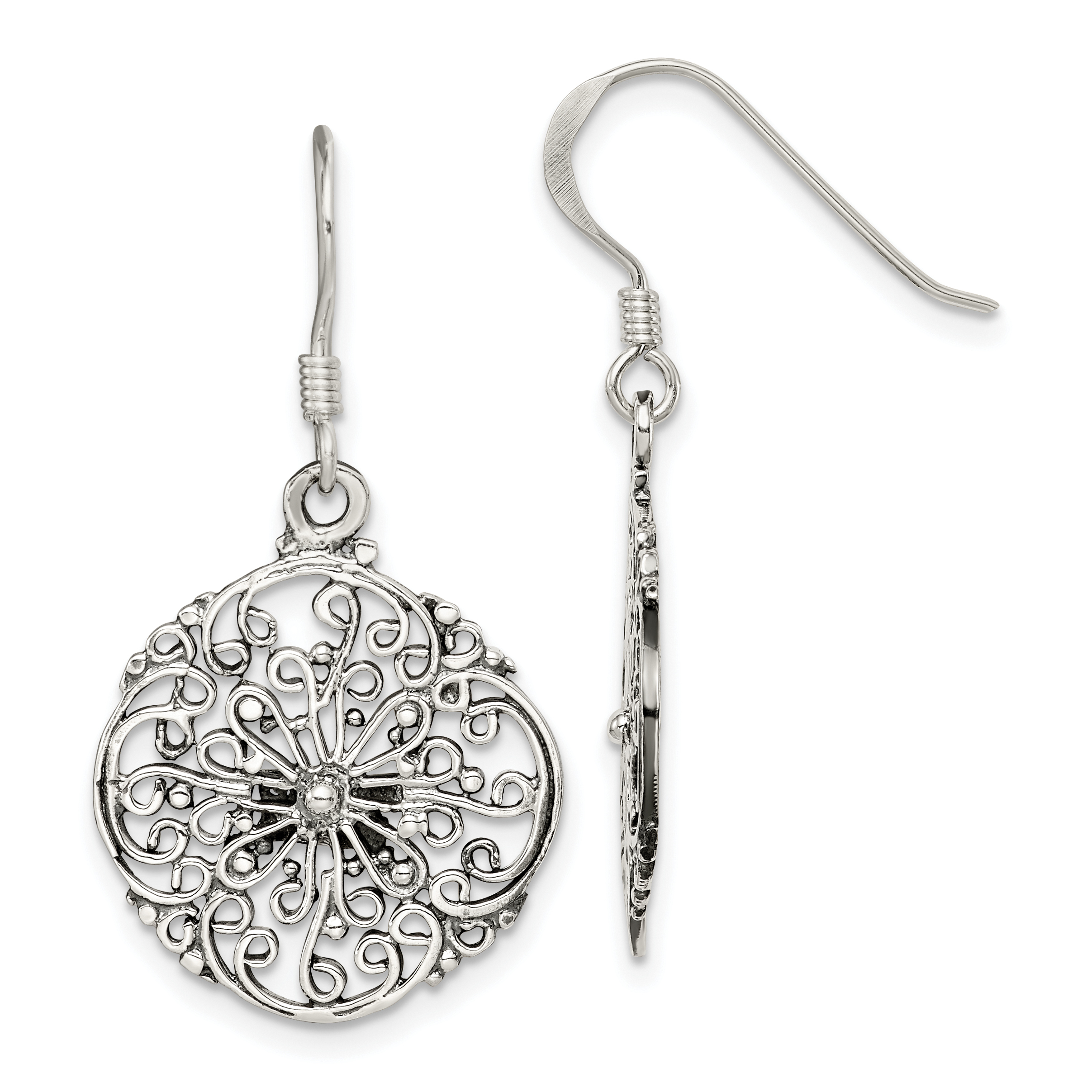 classic silver finds jewelry great sensitive for product antiqued square cutout women fashion stainless filigree designs drop earrings steel loralyn trends feminine shaped diamond skin