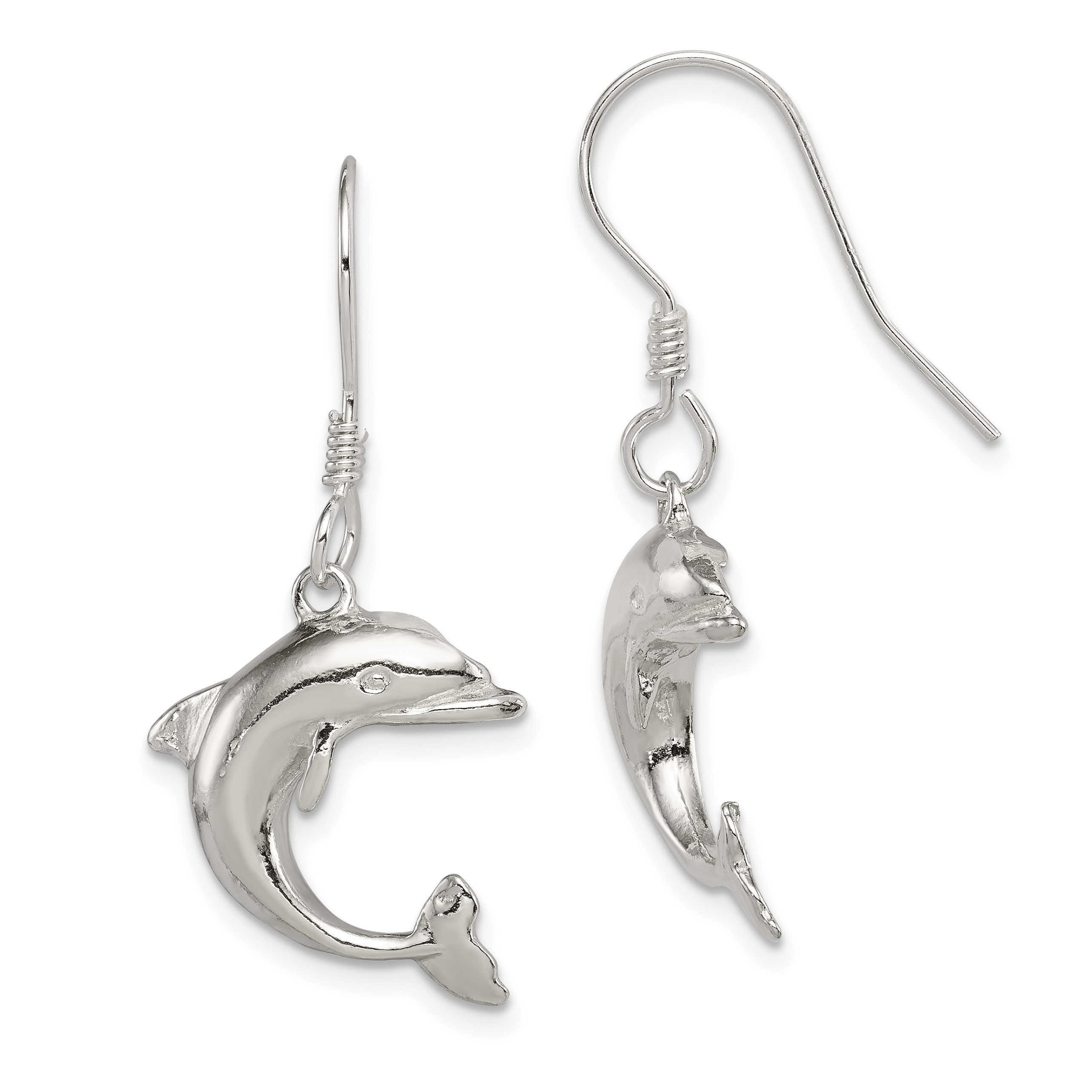 Sterling Silver Dolphin Earrings Weight 3 96 Grams Length 30mm Width 17mm