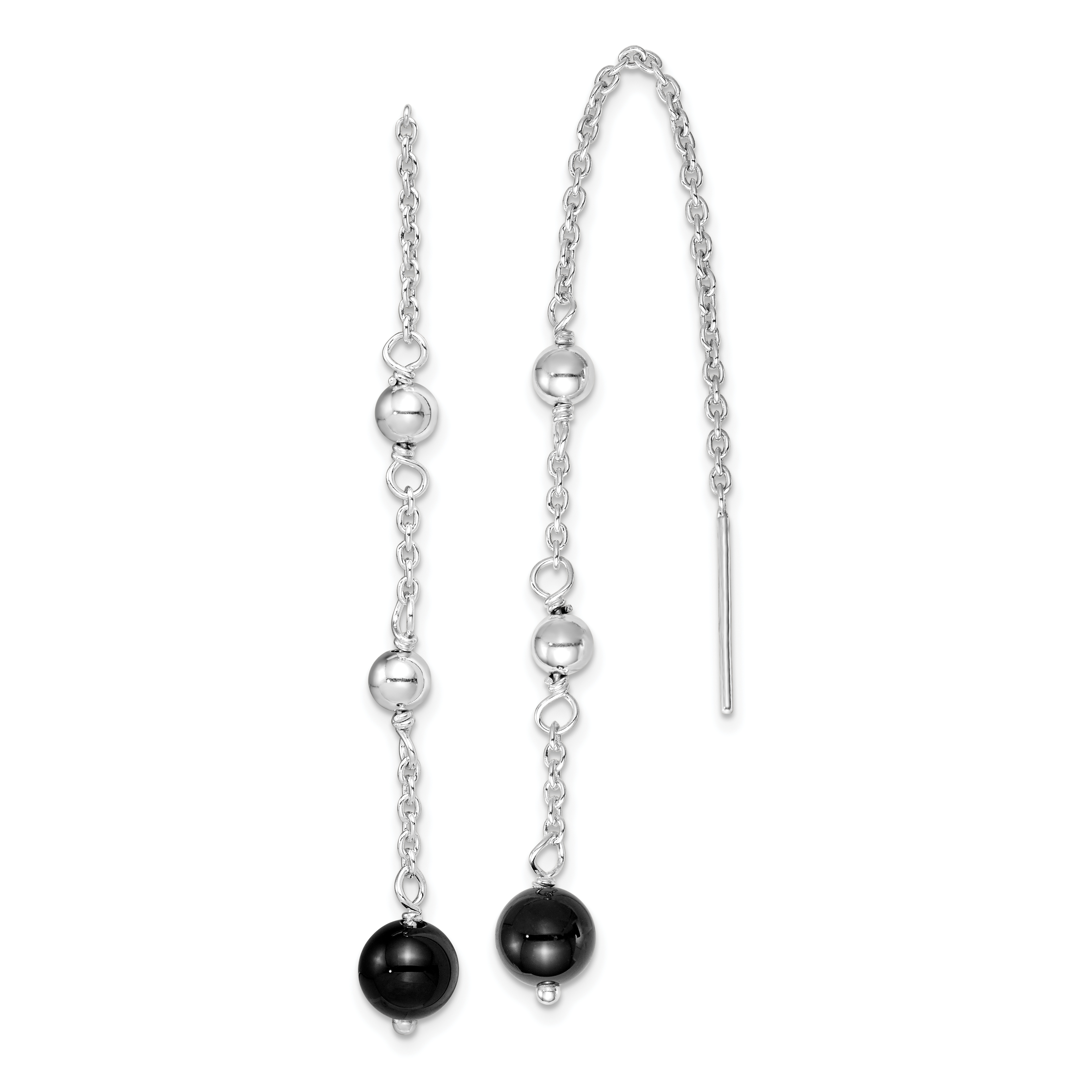 Image Is Loading Sterling Silver Rhodium Plated Black Onyx Dangle Earrings