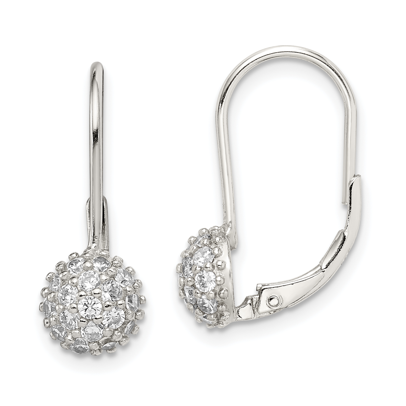 Sterling Silver Cz Leverback Earrings Weight 1 98 Grams Length 24mm Width 15mm