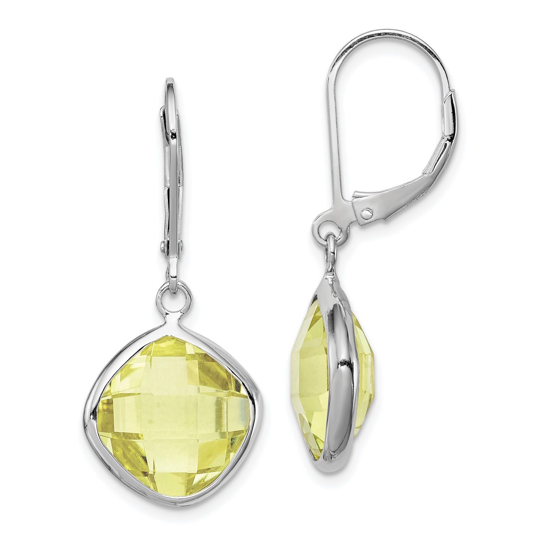 Image Is Loading Sterling Silver Lemon Quartz Earrings Gem Wt 10