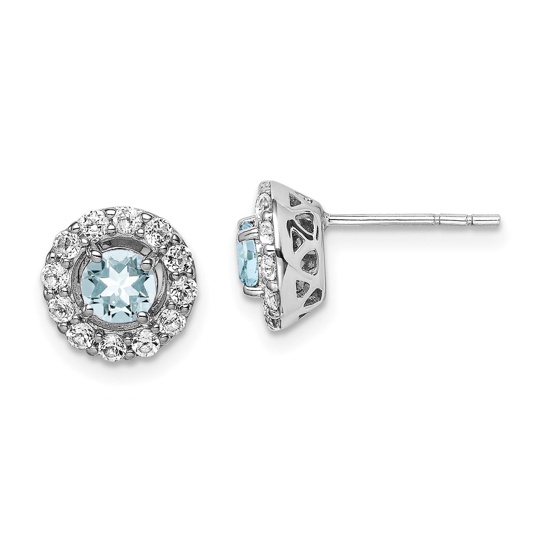 Sterling Silver Rhodium Plated White Topaz Aquamarine Earrings 0 85ct