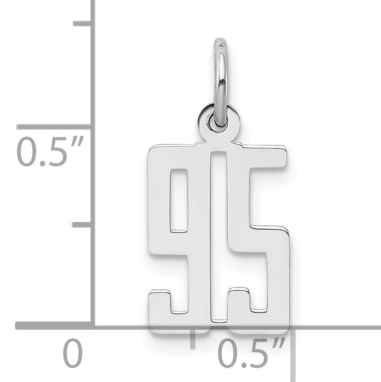 Sterling Silver Small Elongated Pol Number 95 Charm