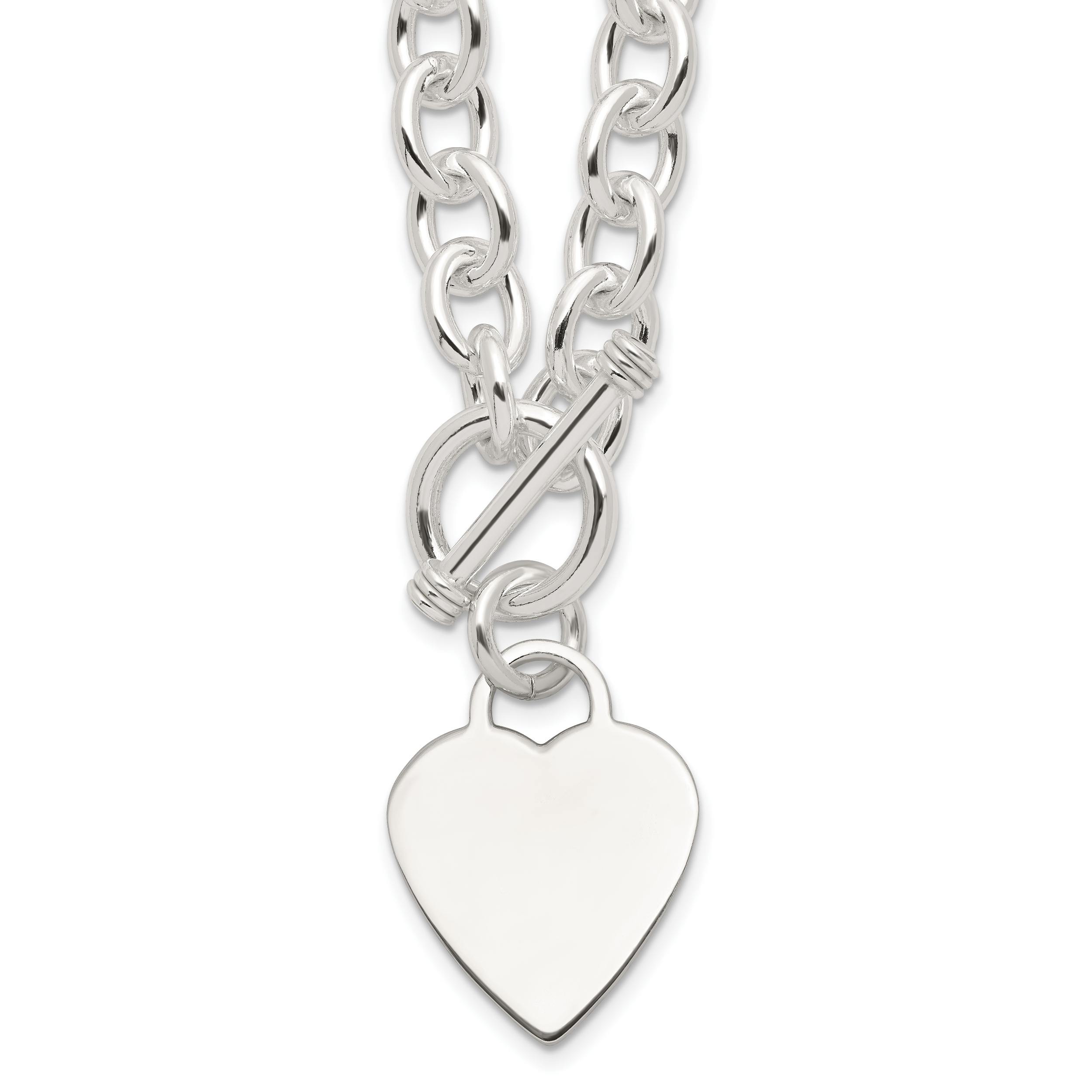 Sterling Silver Heart Fancy Link Toggle Necklace | Weight: 54.83 grams, Length: 18mm, Width: mm