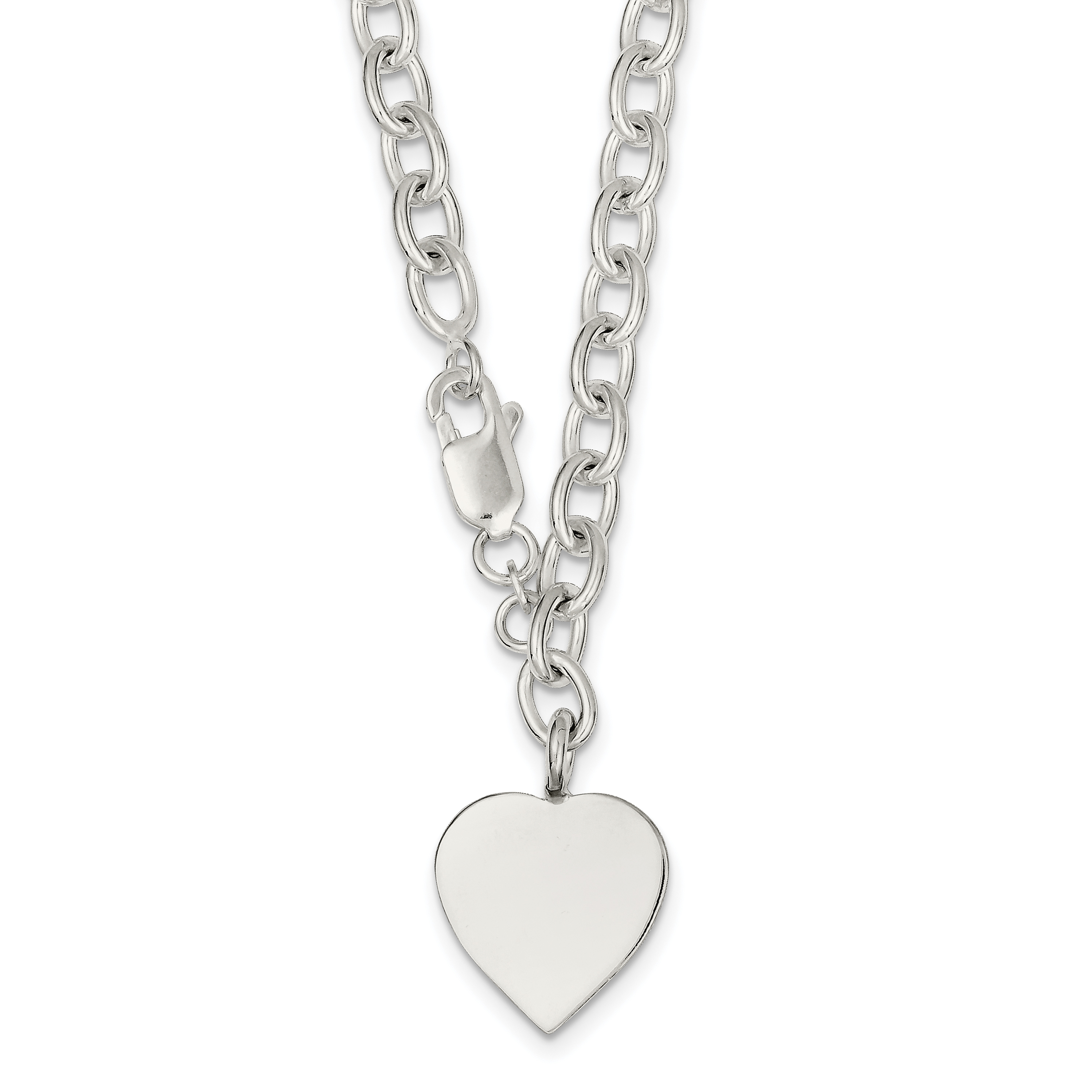 Sterling Silver Heart Charm Necklace | Weight: 27.03 grams, Length: 18mm, Width: 0mm