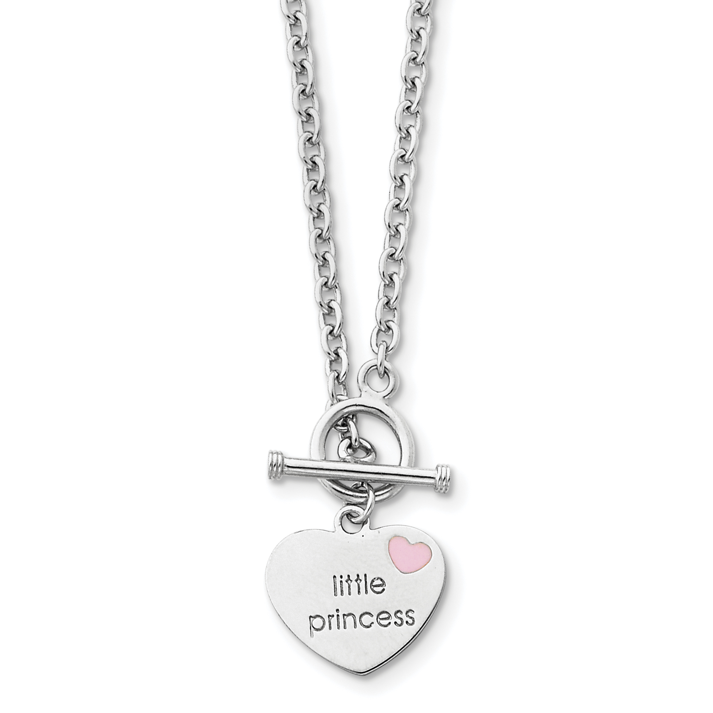 Sterling Silver Rhodium-plated Enameled Little Princess Heart Necklace | Weight: 7.79 grams, Length: 15mm, Width: mm