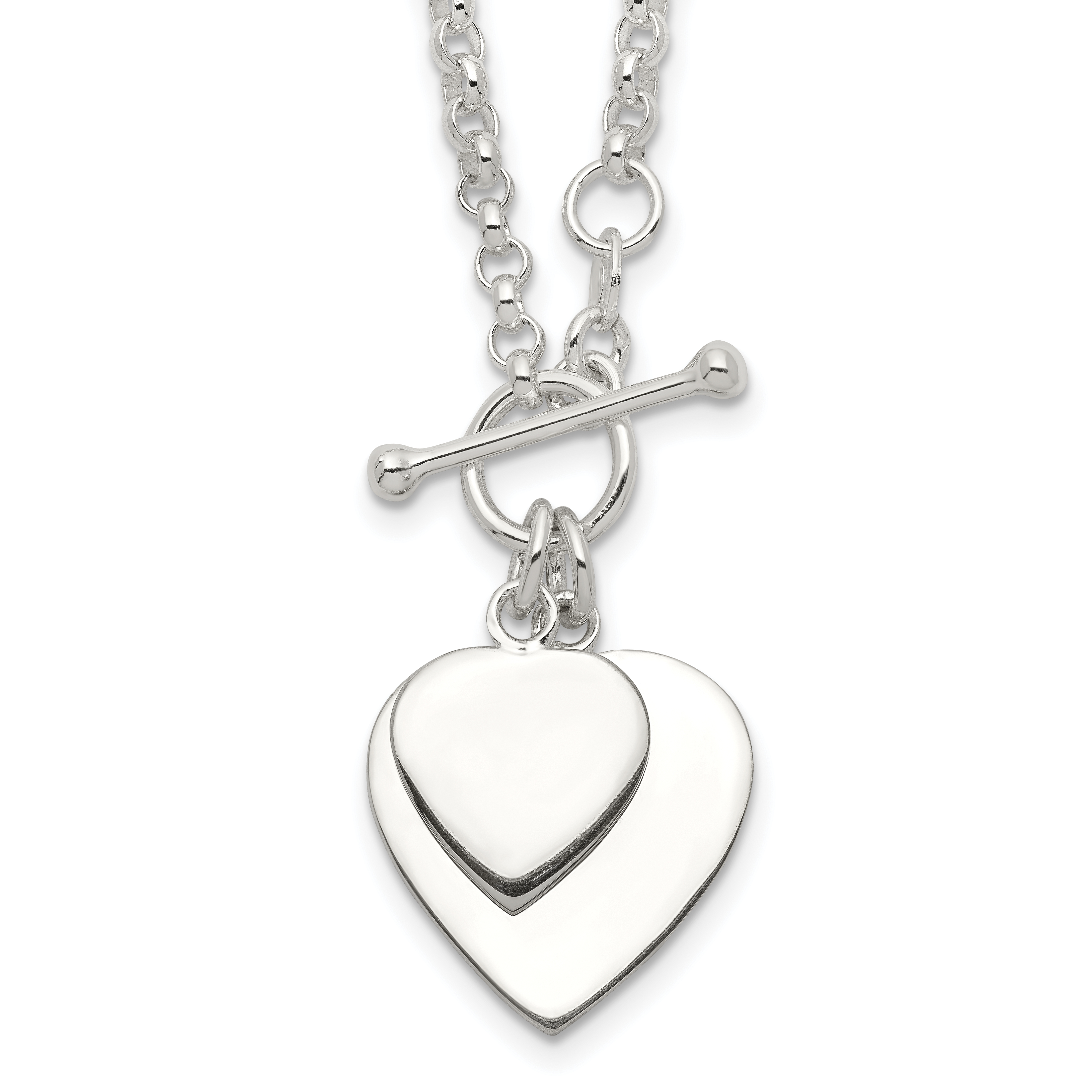Sterling Silver Double Heart Toggle Necklace | Weight: 14.85 grams, Length: 18mm, Width: mm