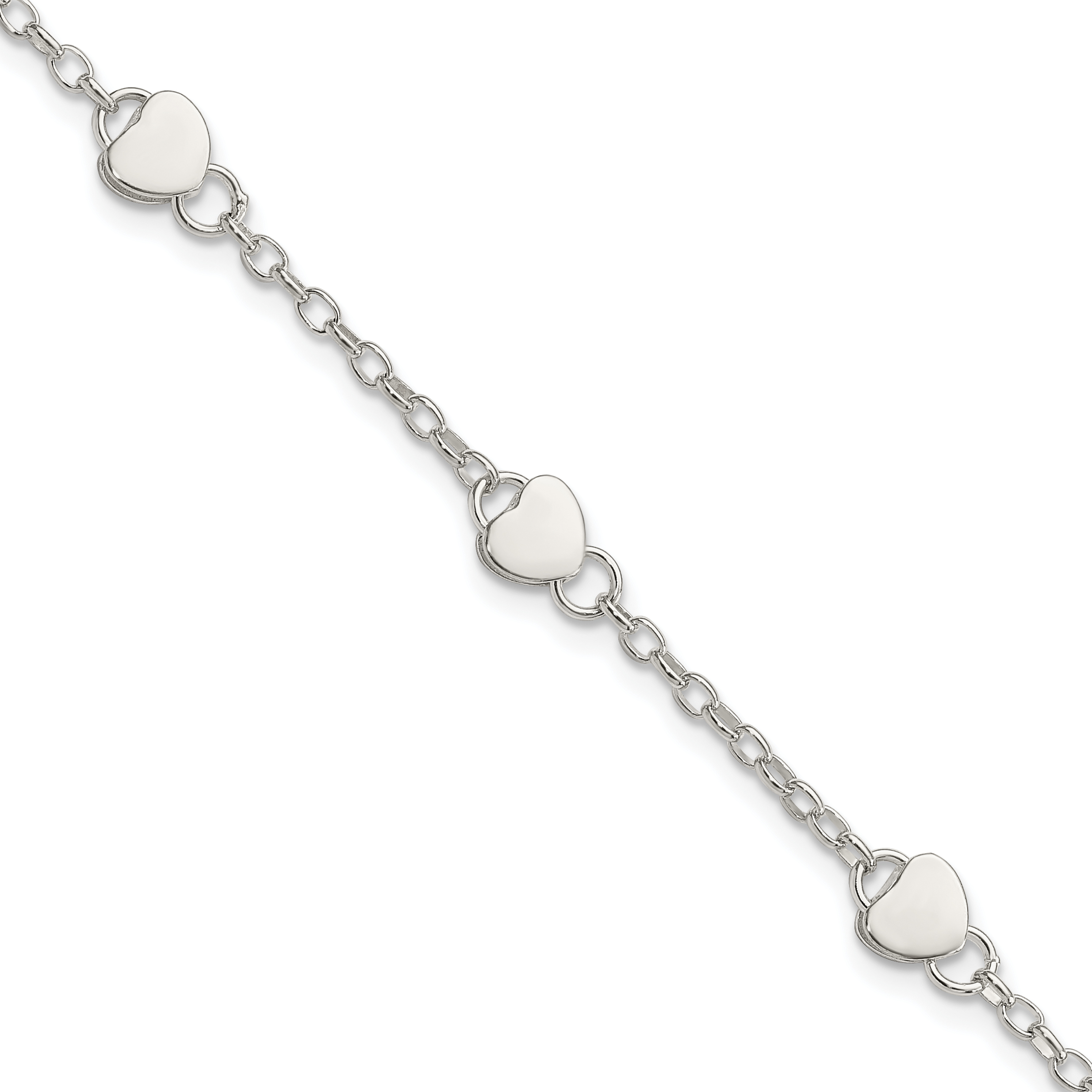 sterling adjustable bracelet charm pattern product heart silver childs large