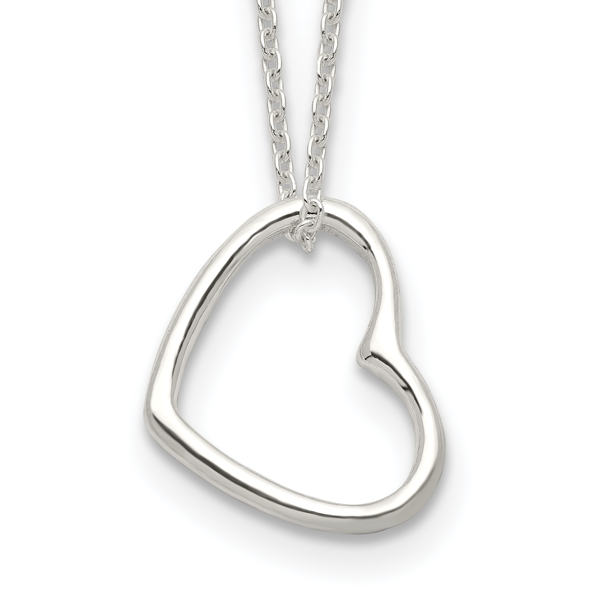 Sterling Silver Heart 14 IN w/2 In EXT Necklace   Weight: 2.5 grams, Length: 16mm, Width: 0mm