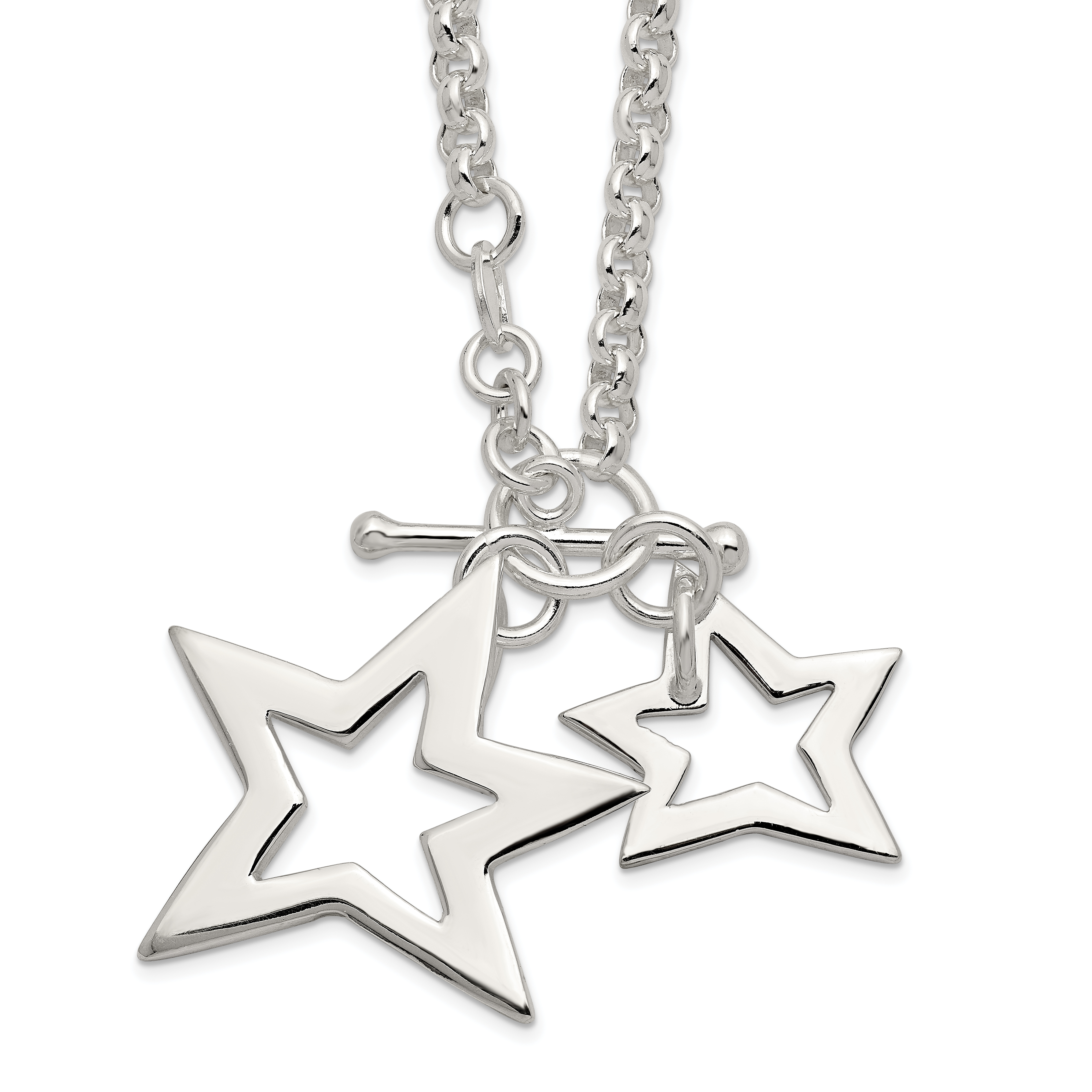 Sterling Silver Fancy Stars Necklace | Weight: 11.93 grams, Length: 16mm, Width: mm