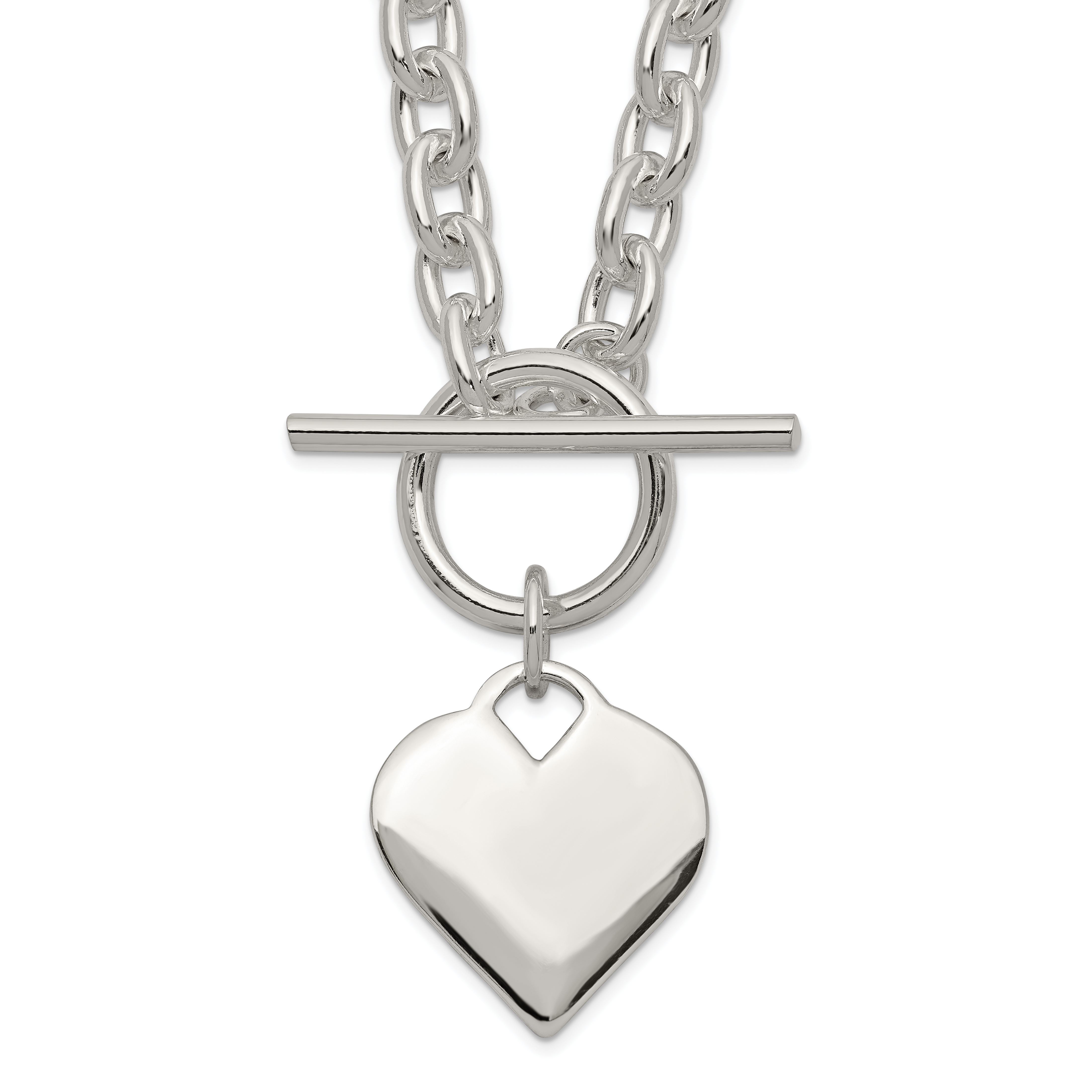 Sterling Silver Engraveable Heart Toggle Necklace | Weight: 28.9 grams, Length: 18mm, Width: mm