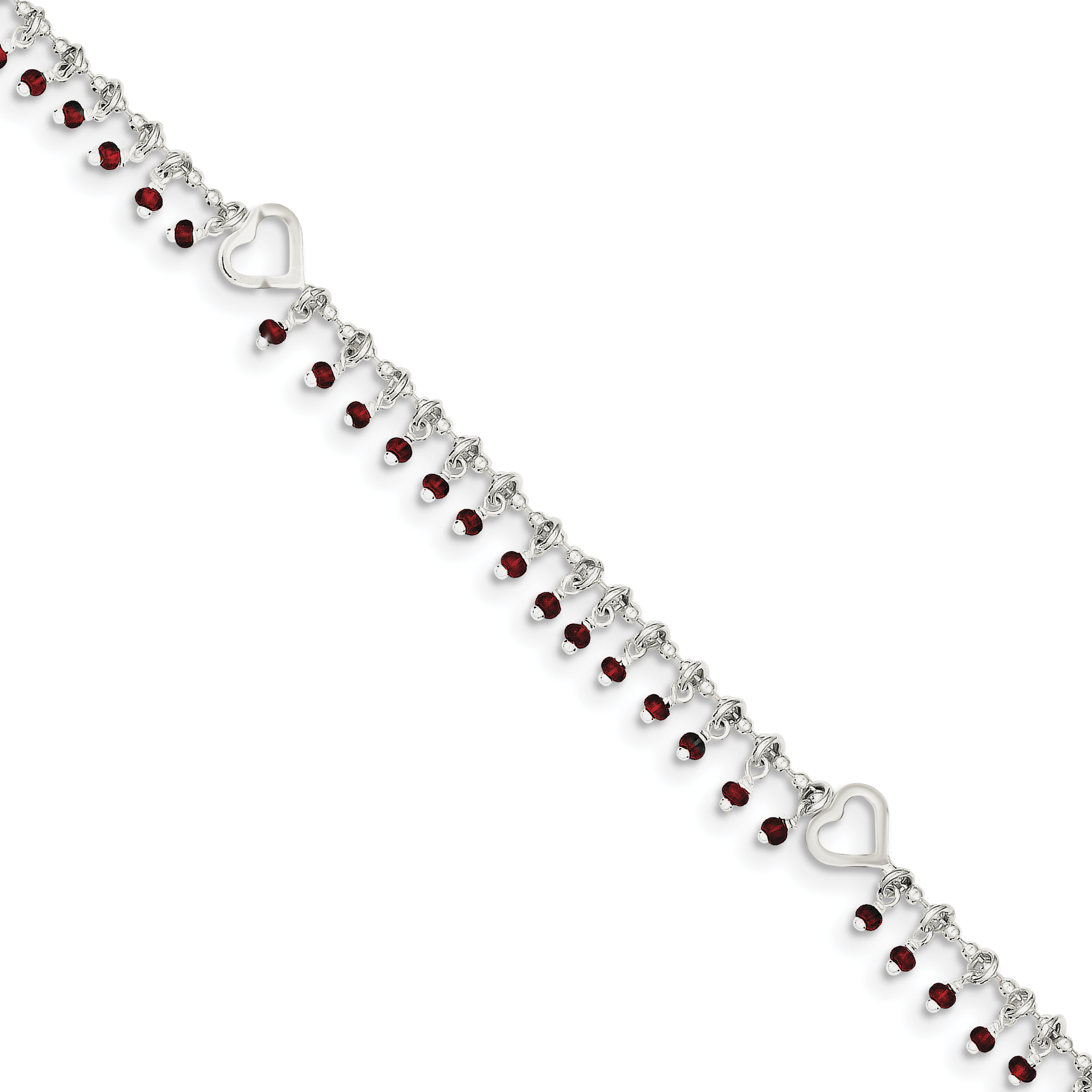 ball charm slider anklet bracelet with sterling jewellery silver heart bead