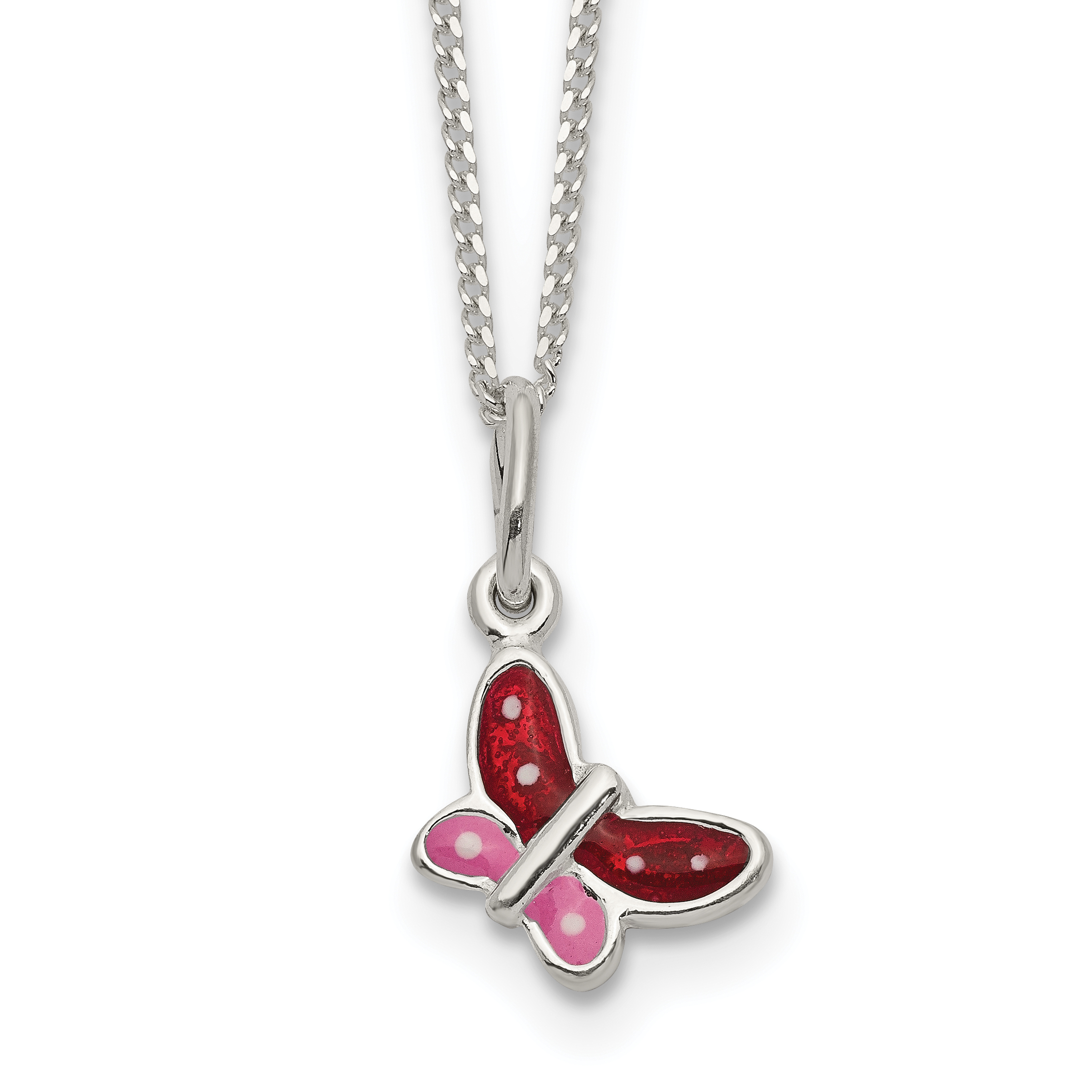 Sterling Silver Enameled Butterfly Necklace | Weight: 1.53 grams, Length: 14mm, Width: mm