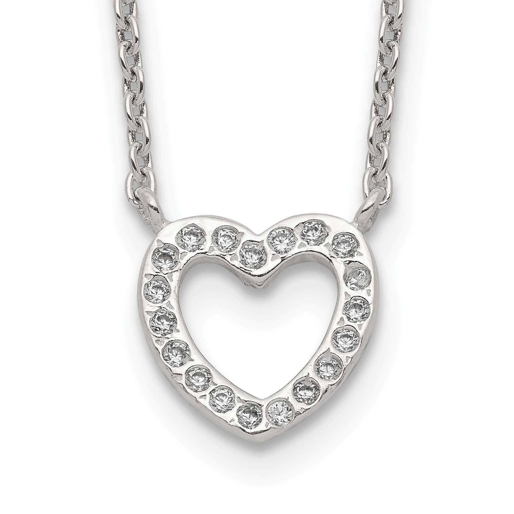 Sterling Silver CZ & Heart Necklace | Weight: 2.66 grams, Length: 17mm, Width: mm