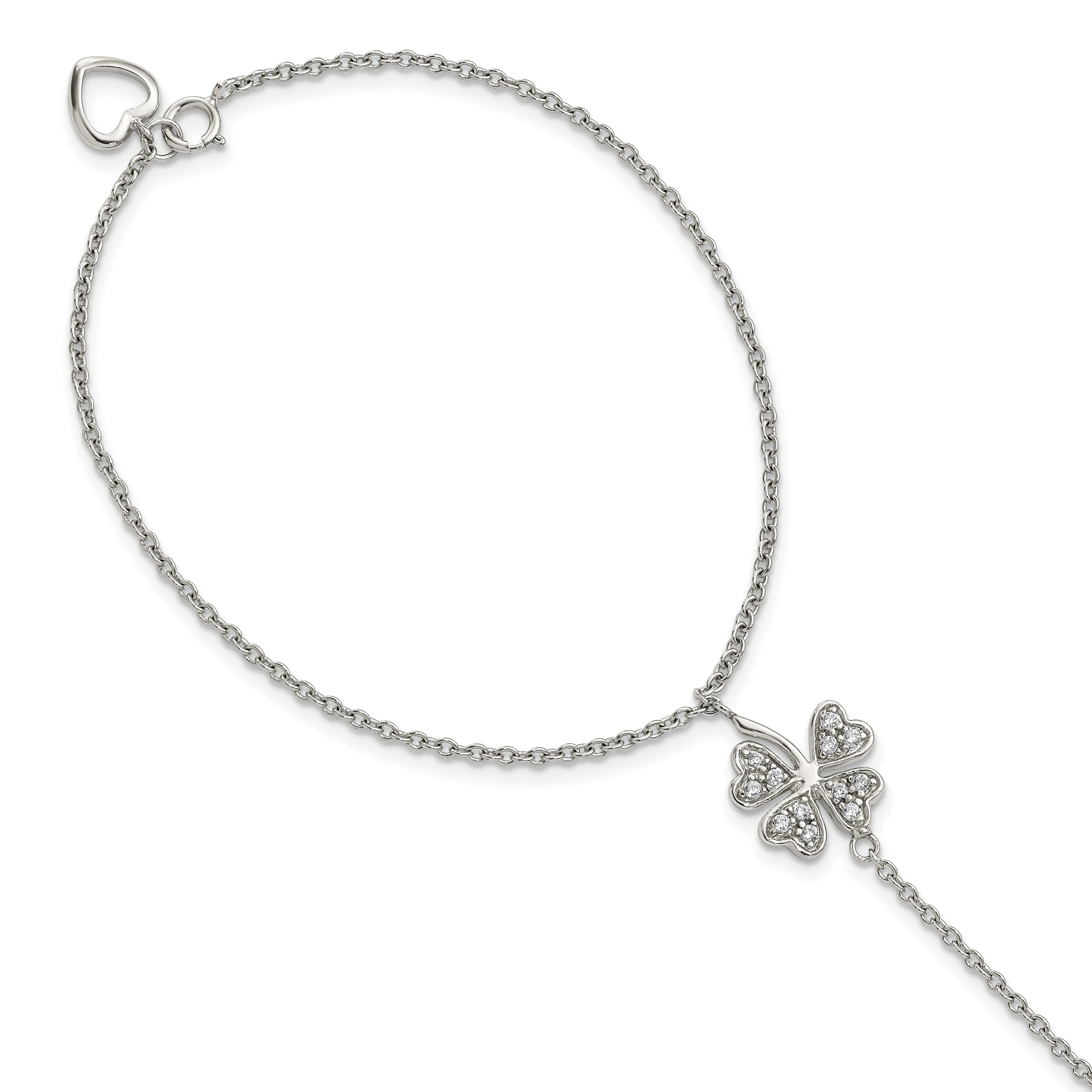 Jewelry Best Seller Sterling Silver Rhodium-plated Polished with CZ Leaf Chain Slide