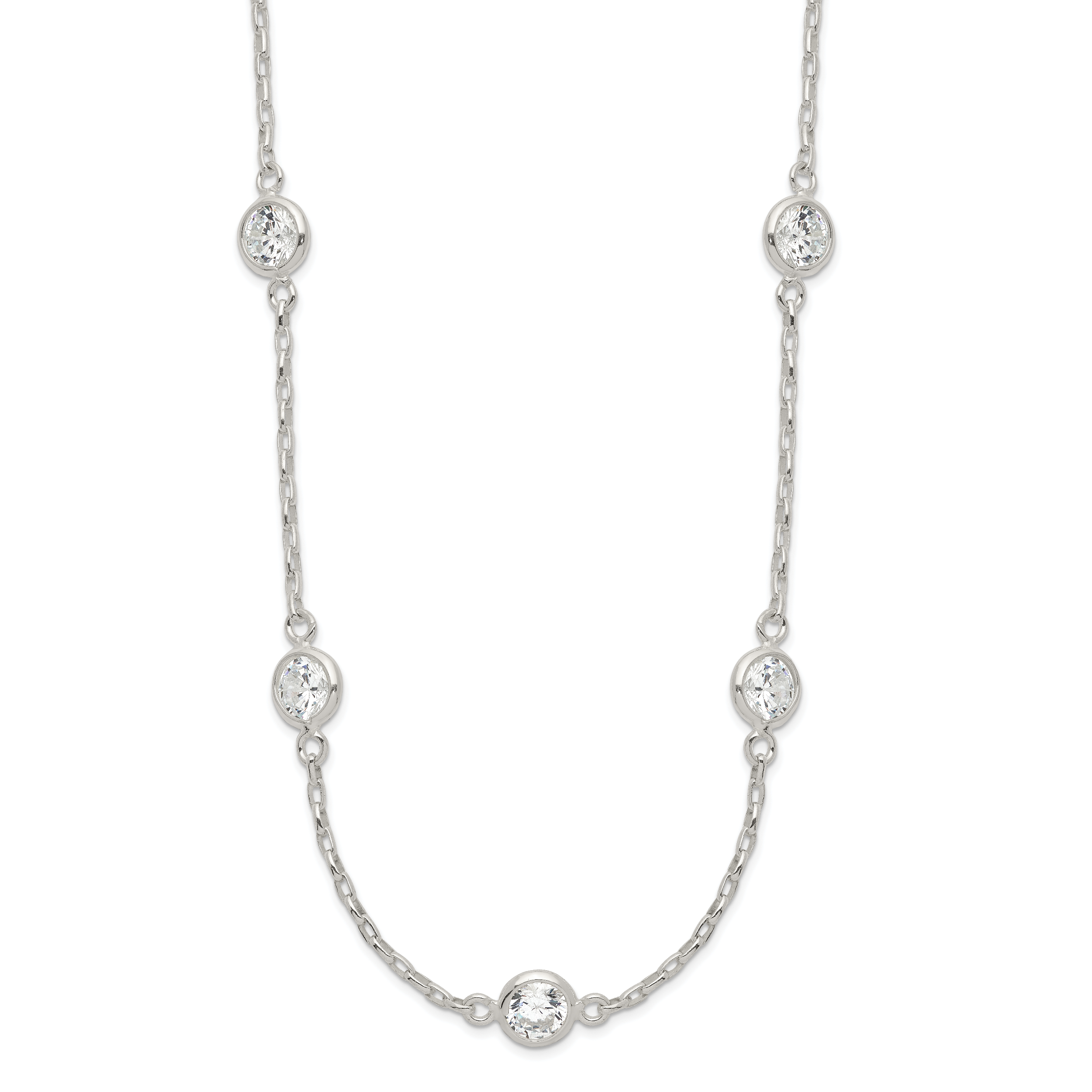 Sterling Silver Polished CZ Necklace | Weight: 3.37 grams, Length: 18mm, Width: mm