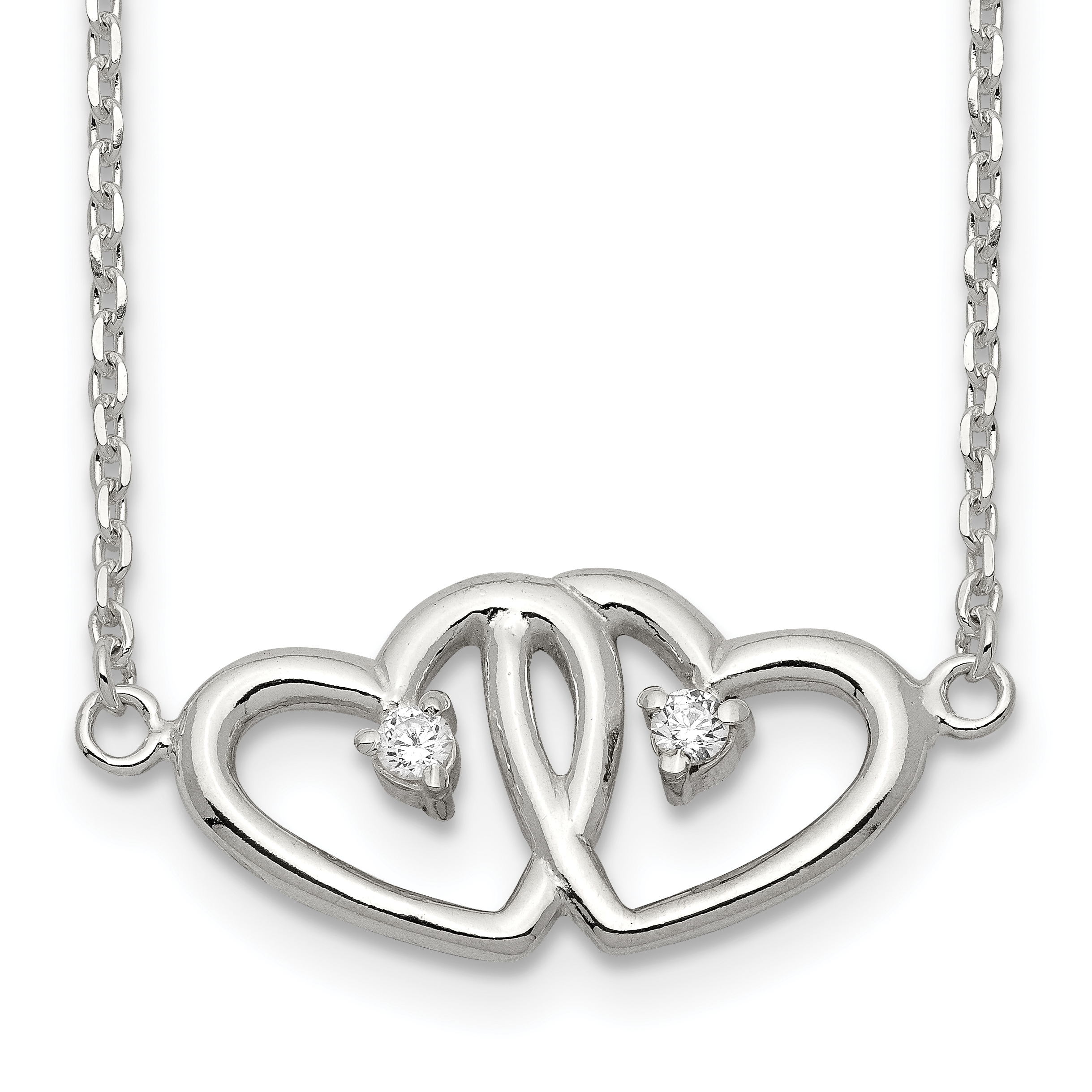Sterling Silver Polished Two Hearts CZ Necklace | Weight: 2.94 grams, Length: 18mm, Width: mm