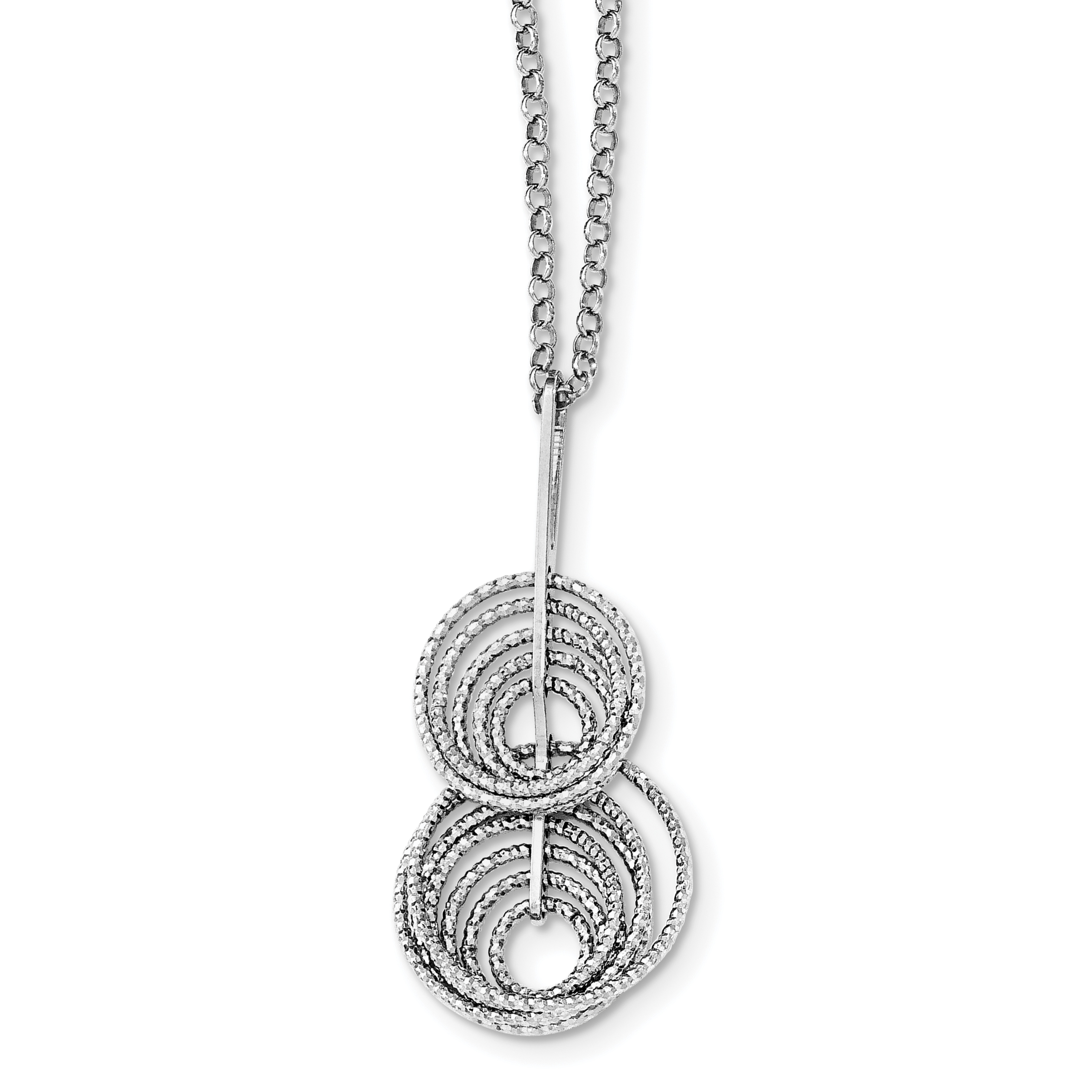 Sterling Silver Rhodium-plated Dangle D/C Circle 18in w/2in ext Necklace | Weight: 6.29 grams, Length: 18mm, Width: mm