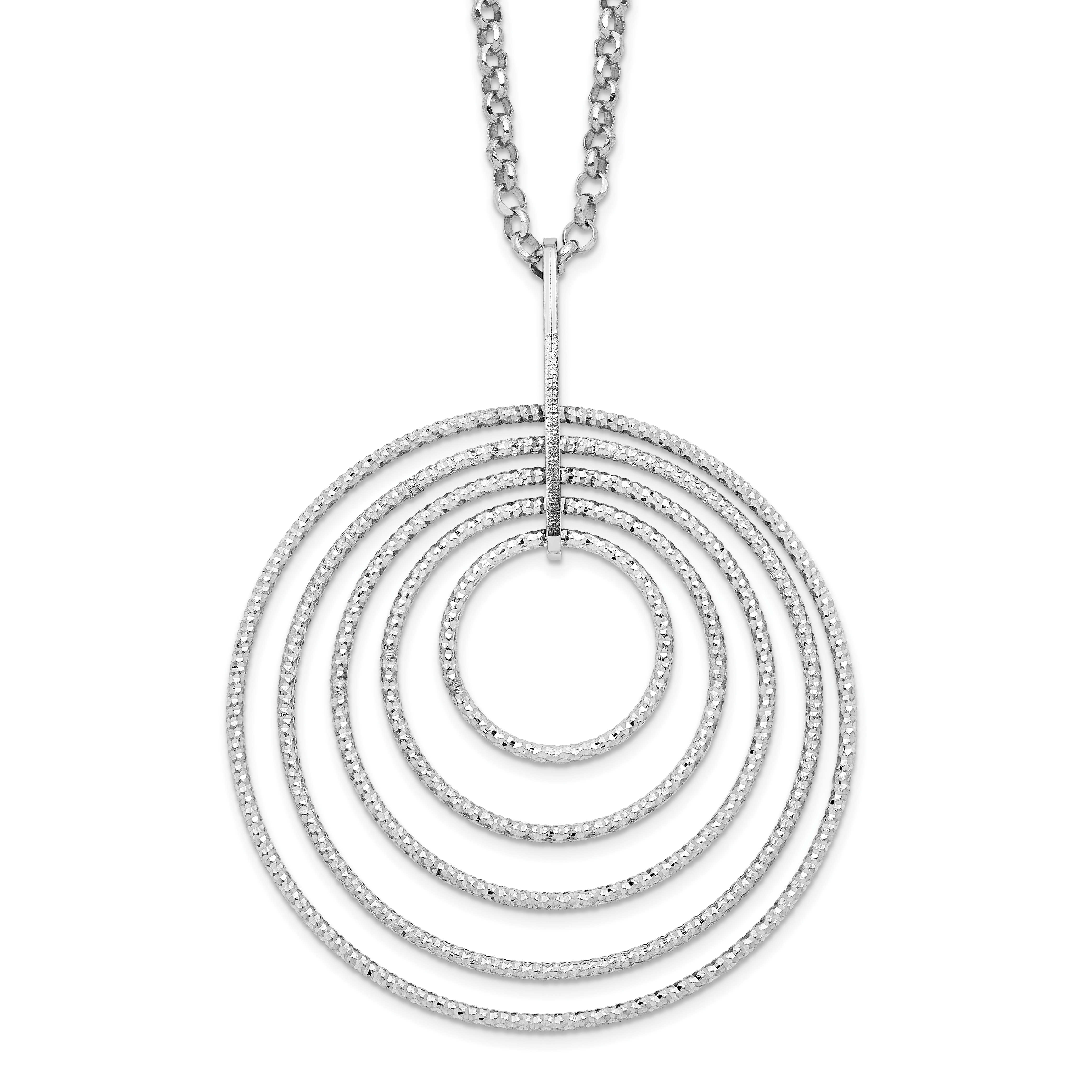 Sterling Silver Rhodium-plated D/C Circle 18 in With 2in Ext Necklace | Weight: 5.72 grams, Length: 18mm, Width: mm