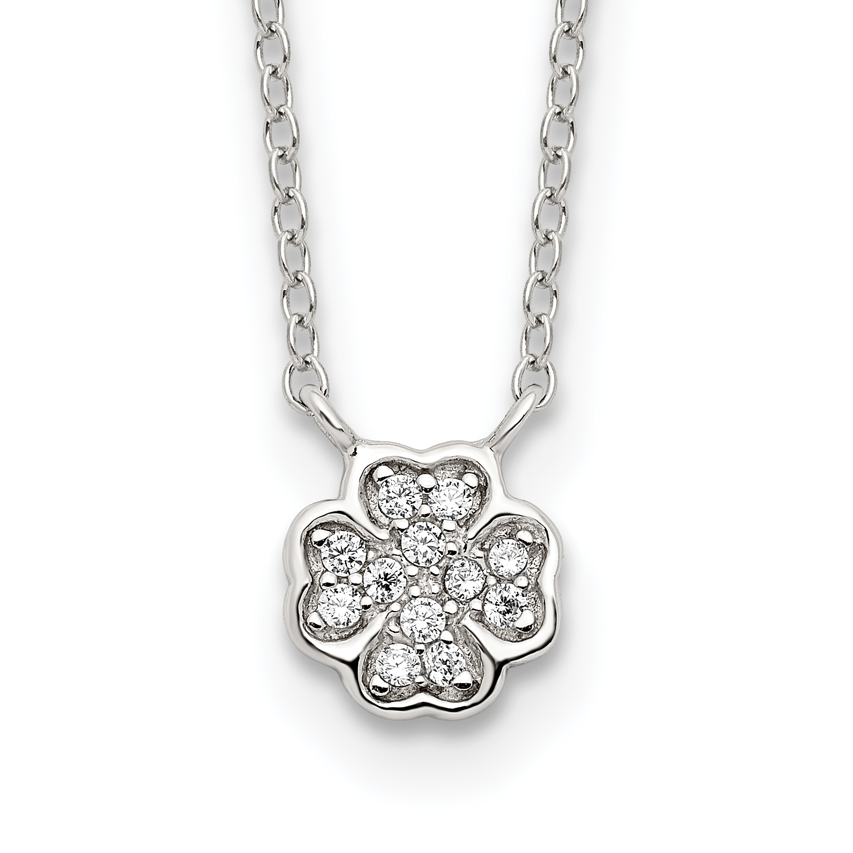 Sterling Silver Polished White CZ Four Leaf Clover Necklace   Weight: 1.4 grams, Length: 16mm, Width: mm