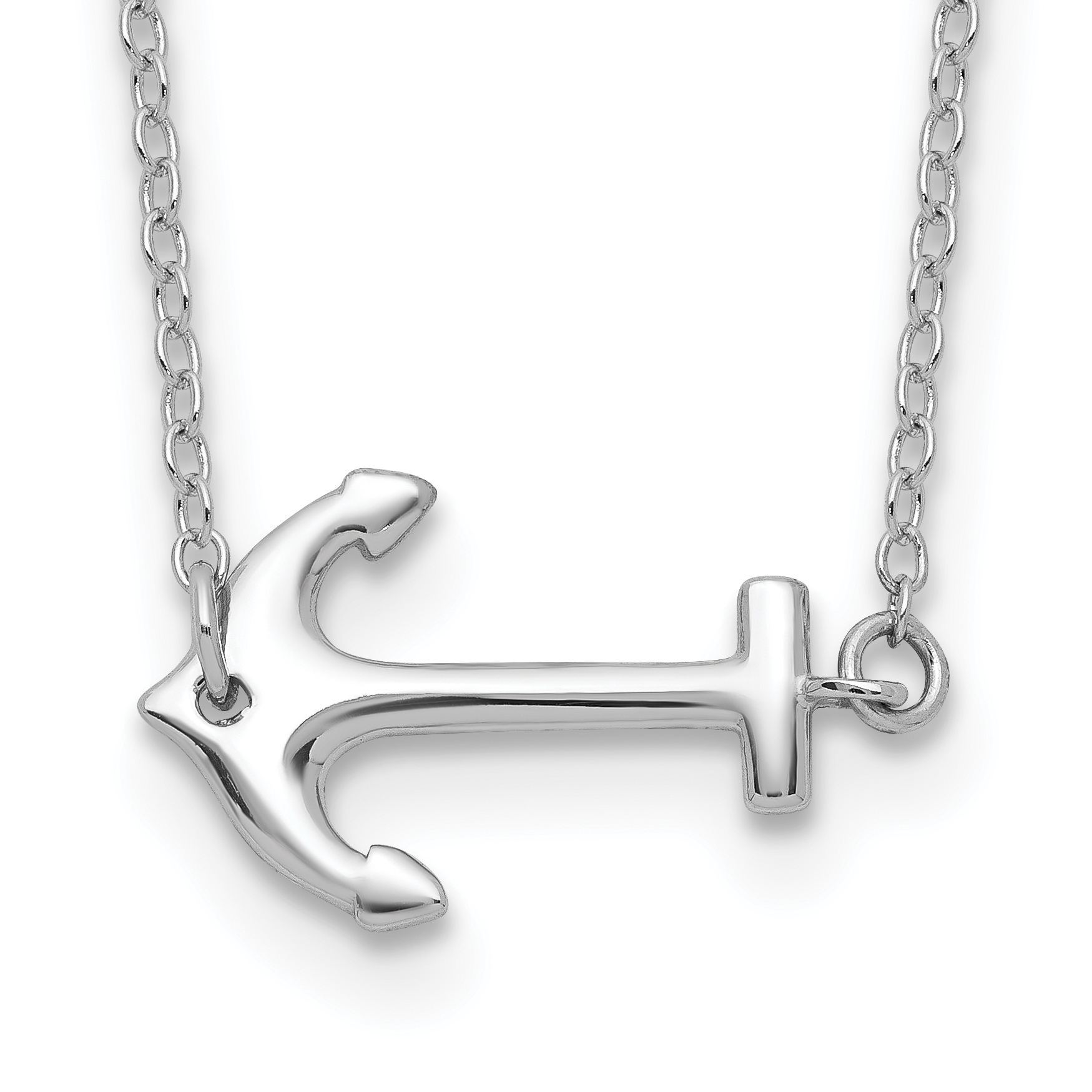 Sterling Silver Rhodium-plated Anchor w/2in ext. Necklace | Weight: 1.27 grams, Length: 16mm, Width: mm