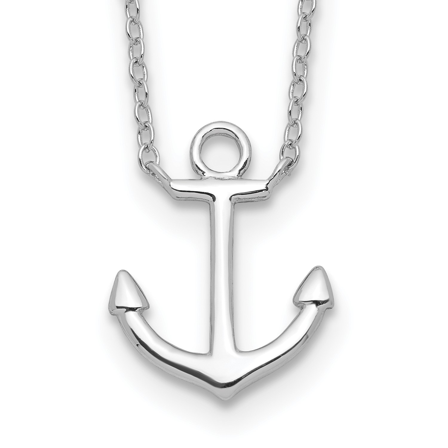 Sterling-Silver-16in-Anchor-w-2in-ext-Necklace-16MM-x-13MM