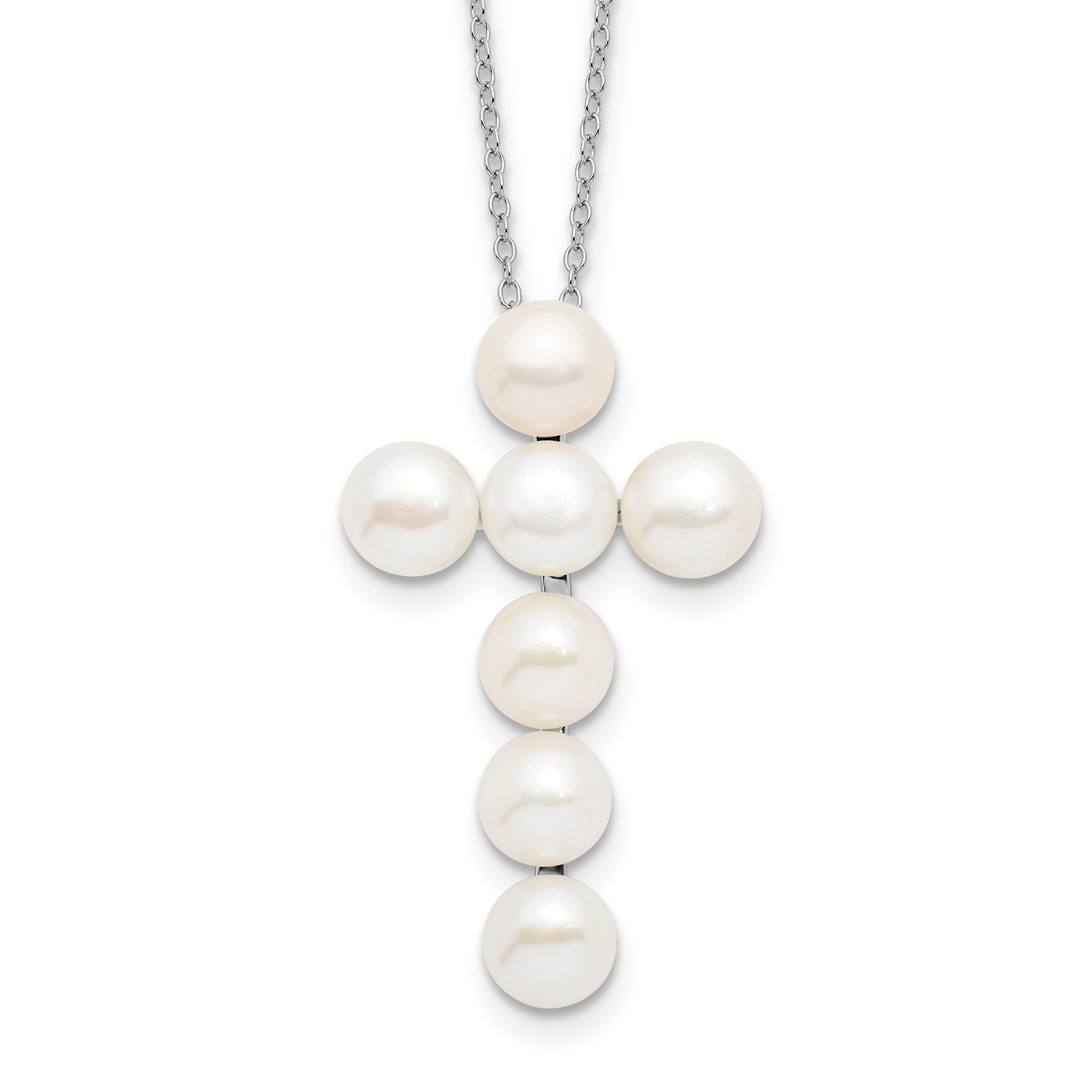 Top 10 Jewelry Gift Sterling Silver Rhodium-plated 6-7mm White FWC Pearl CZ Pendant