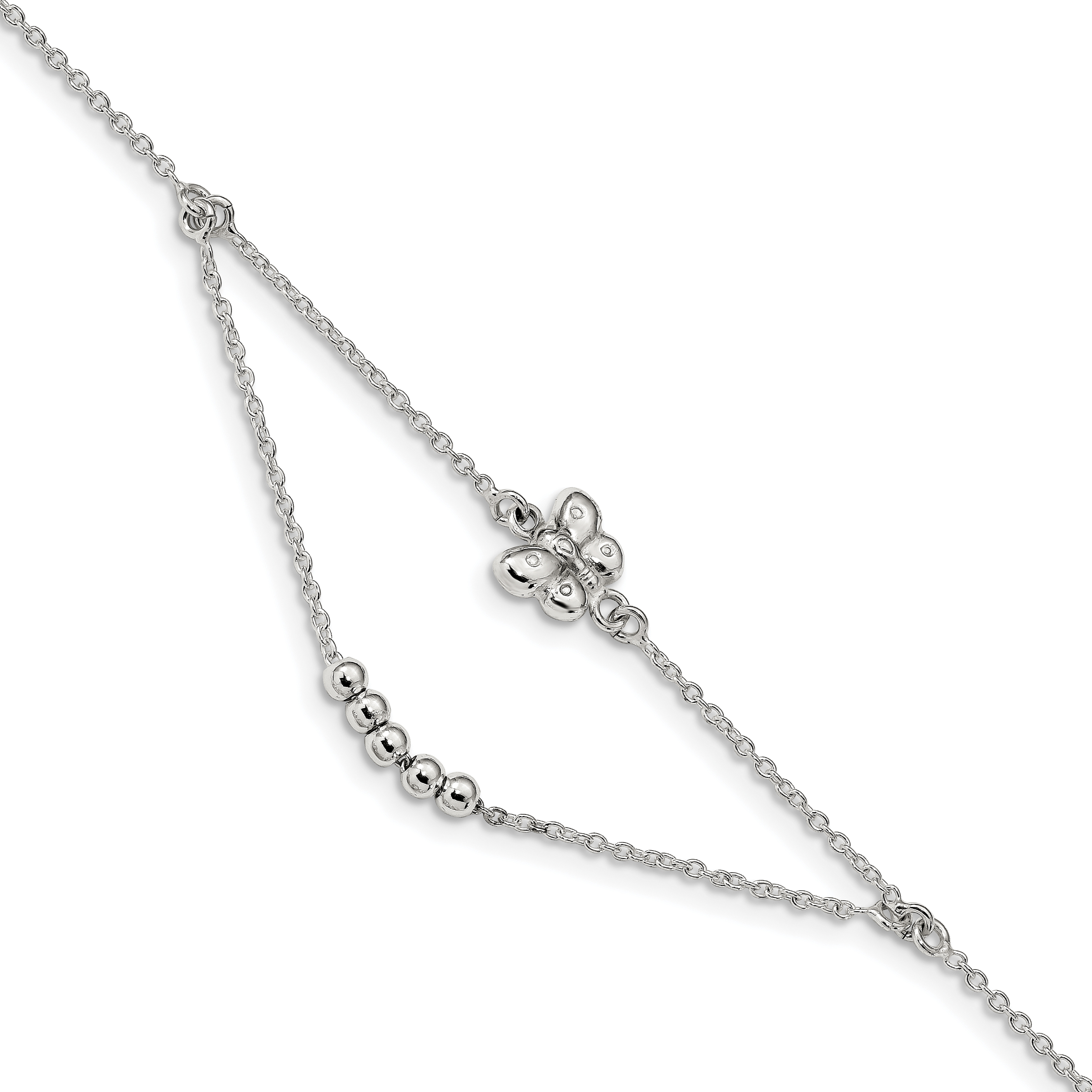 Stainless Steel 9in Polished Butterfly Charms with 1in extension Anklet
