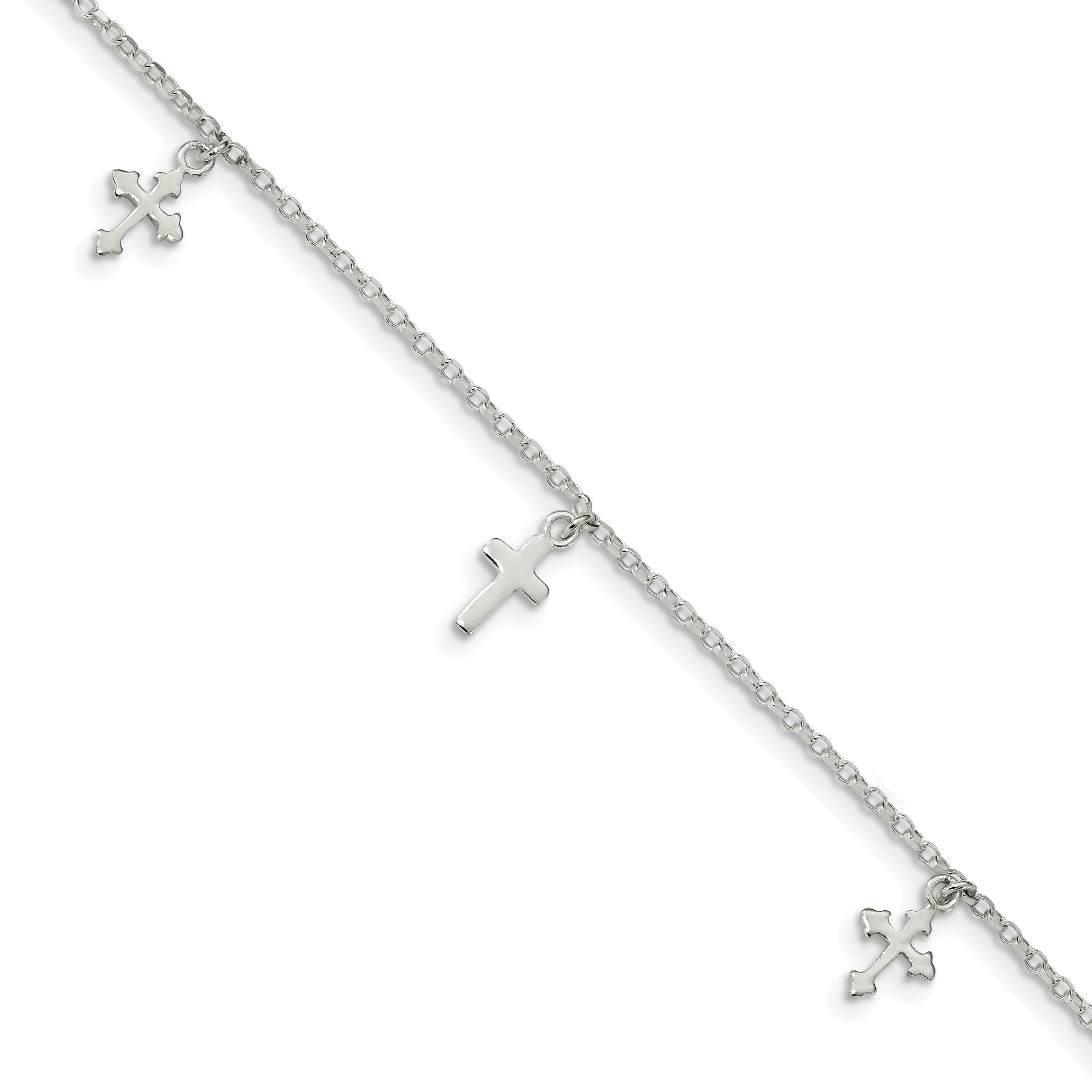 Sterling Silver Polished Wing Dangle 9in w//1Ext Anklet