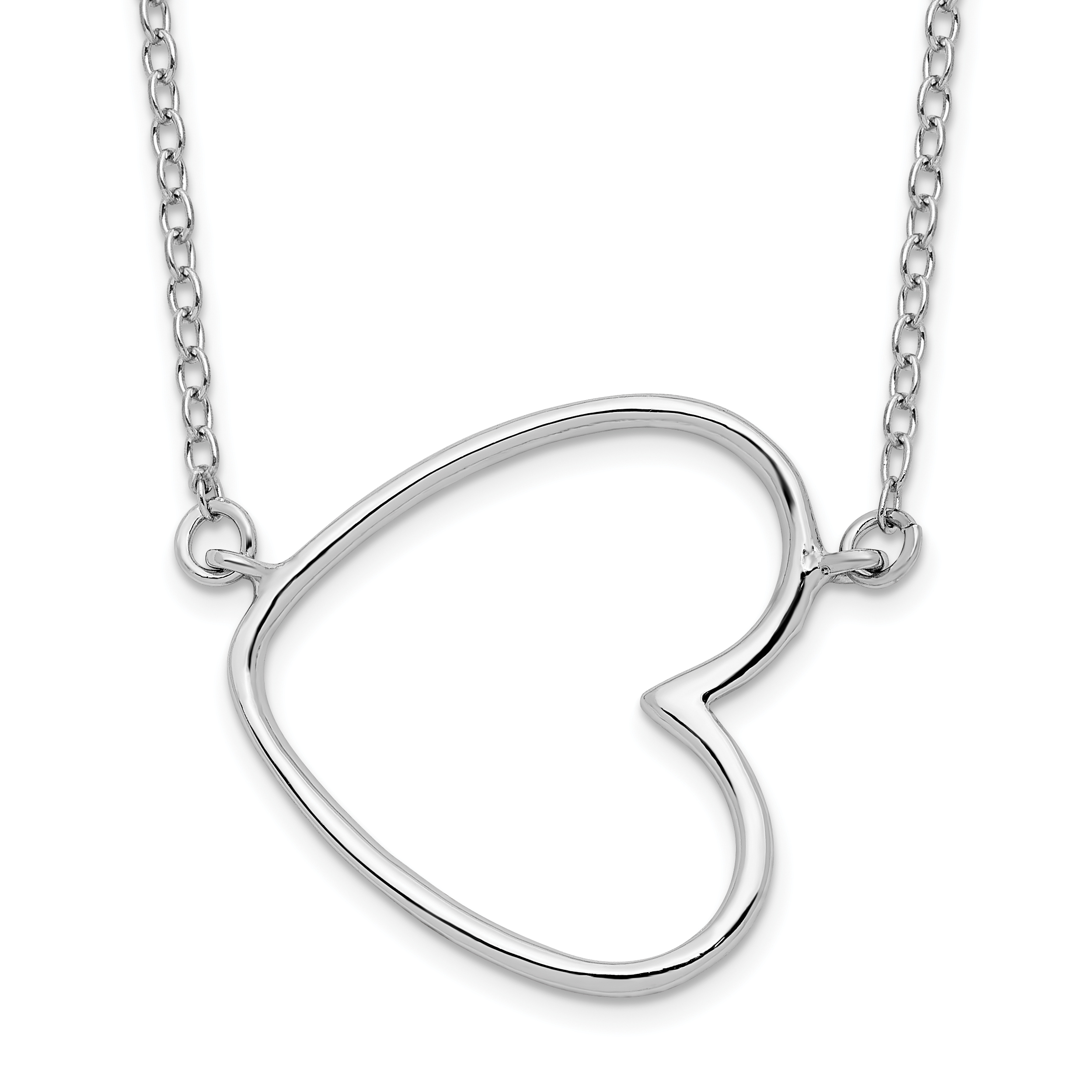 Sterling Silver Rhodium-plated 18in Heart Necklace   Weight: 1.21 grams, Length: 16mm, Width: 1.14mm