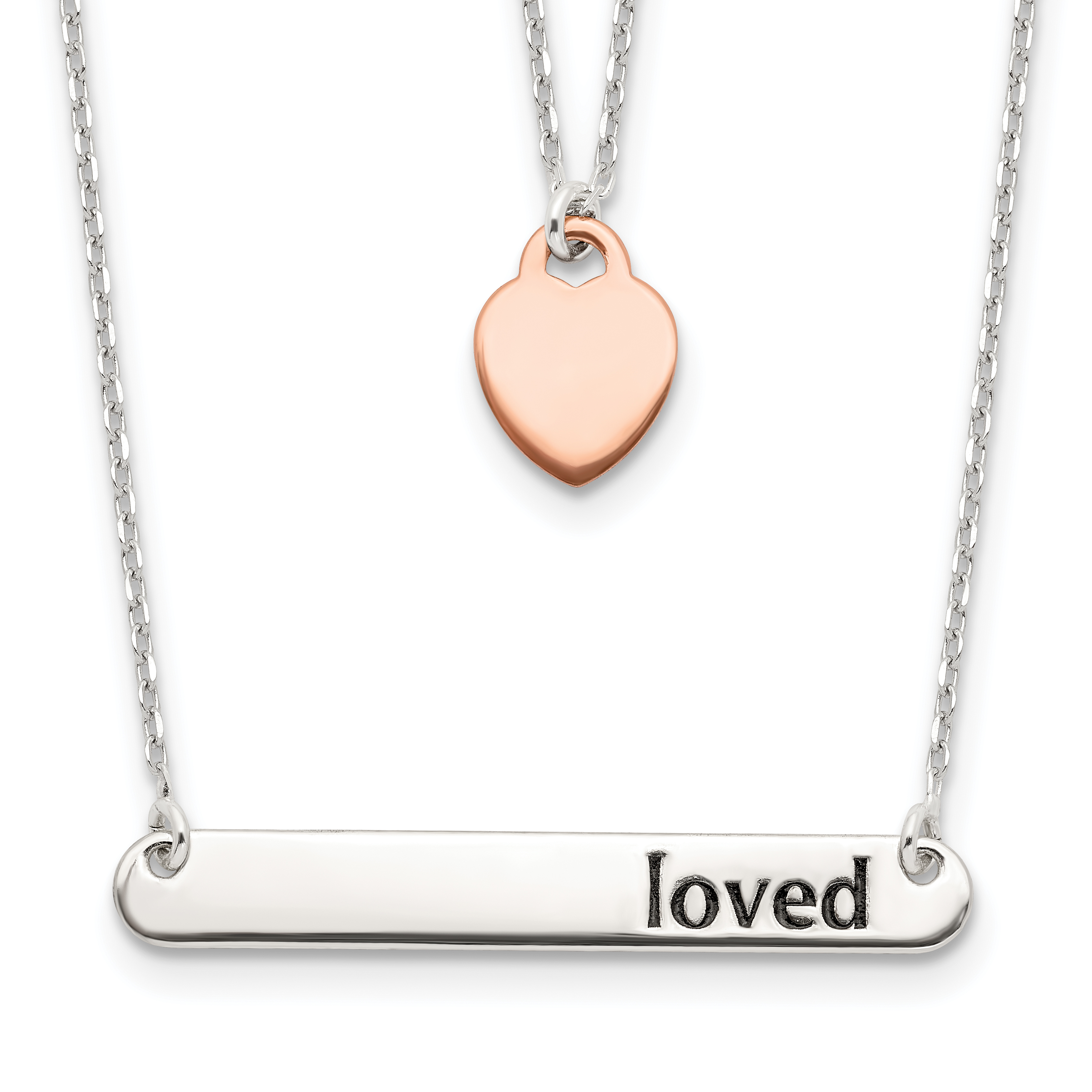 Sterling Silver Rose-tone Heart & Enameled Loved 18in Bar Necklace   Weight: 3.25 grams, Length: 16mm, Width: 1.02mm