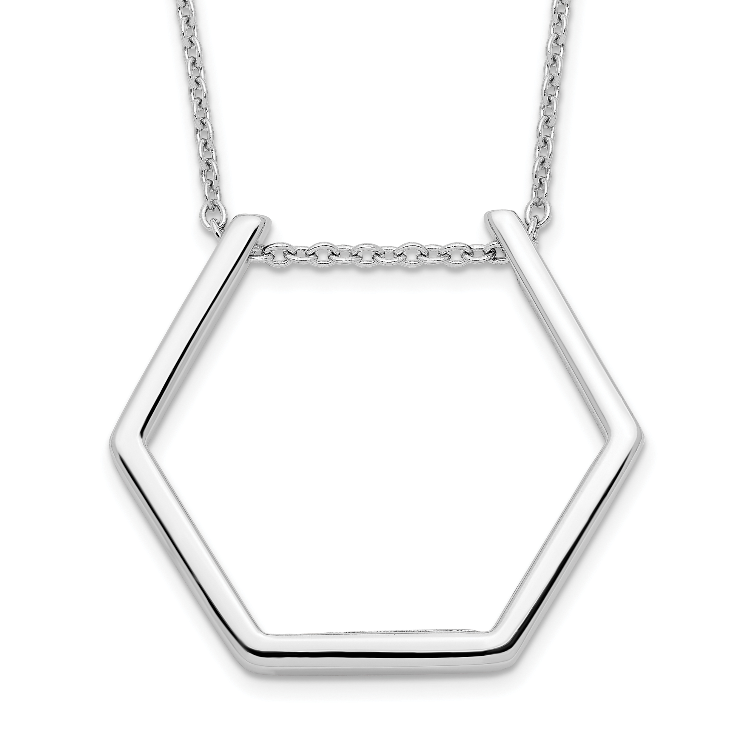 Sterling Silver Rhodium-plated Hexagon Necklace | Weight: 3.08 grams, Length: 18mm, Width: mm