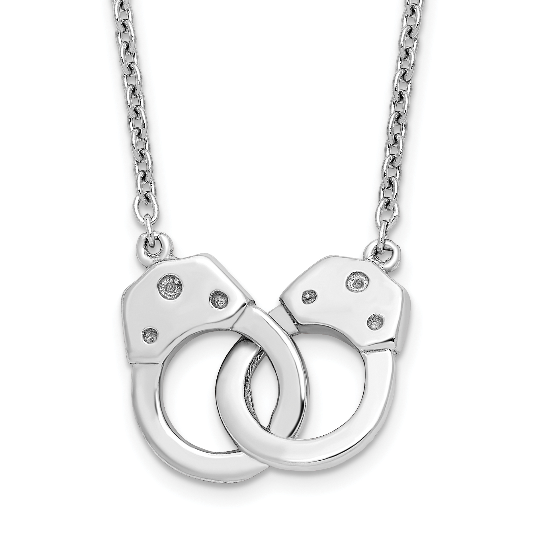Sterling Silver Rhodium-plated Handcuff Necklace | Weight: 2.4 grams, Length: 18mm, Width: mm
