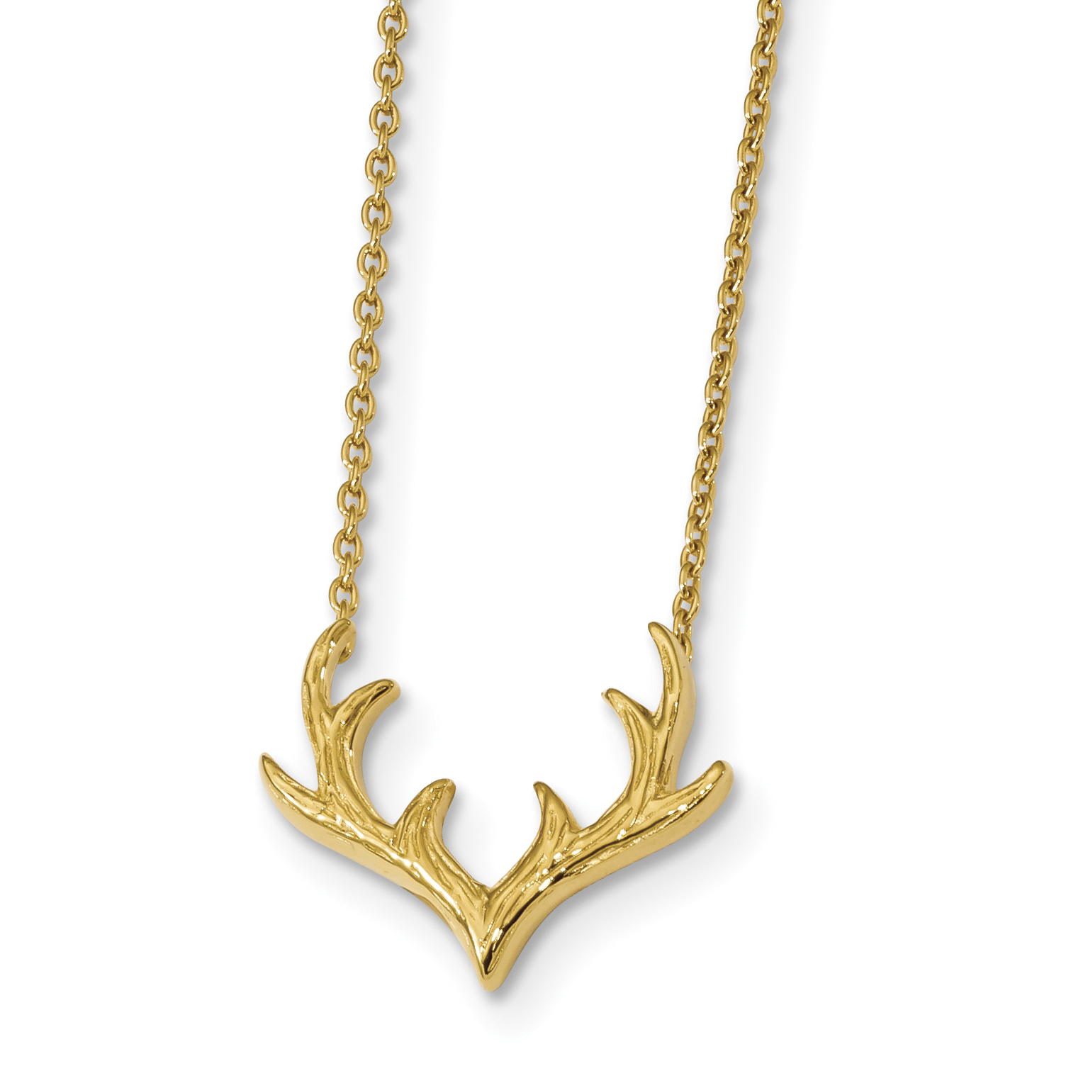 Sterling Silver Gold-plated 16.5in w/1.25in ext Antler Necklace | Weight: 2.99 grams, Length: 16.5mm, Width: mm