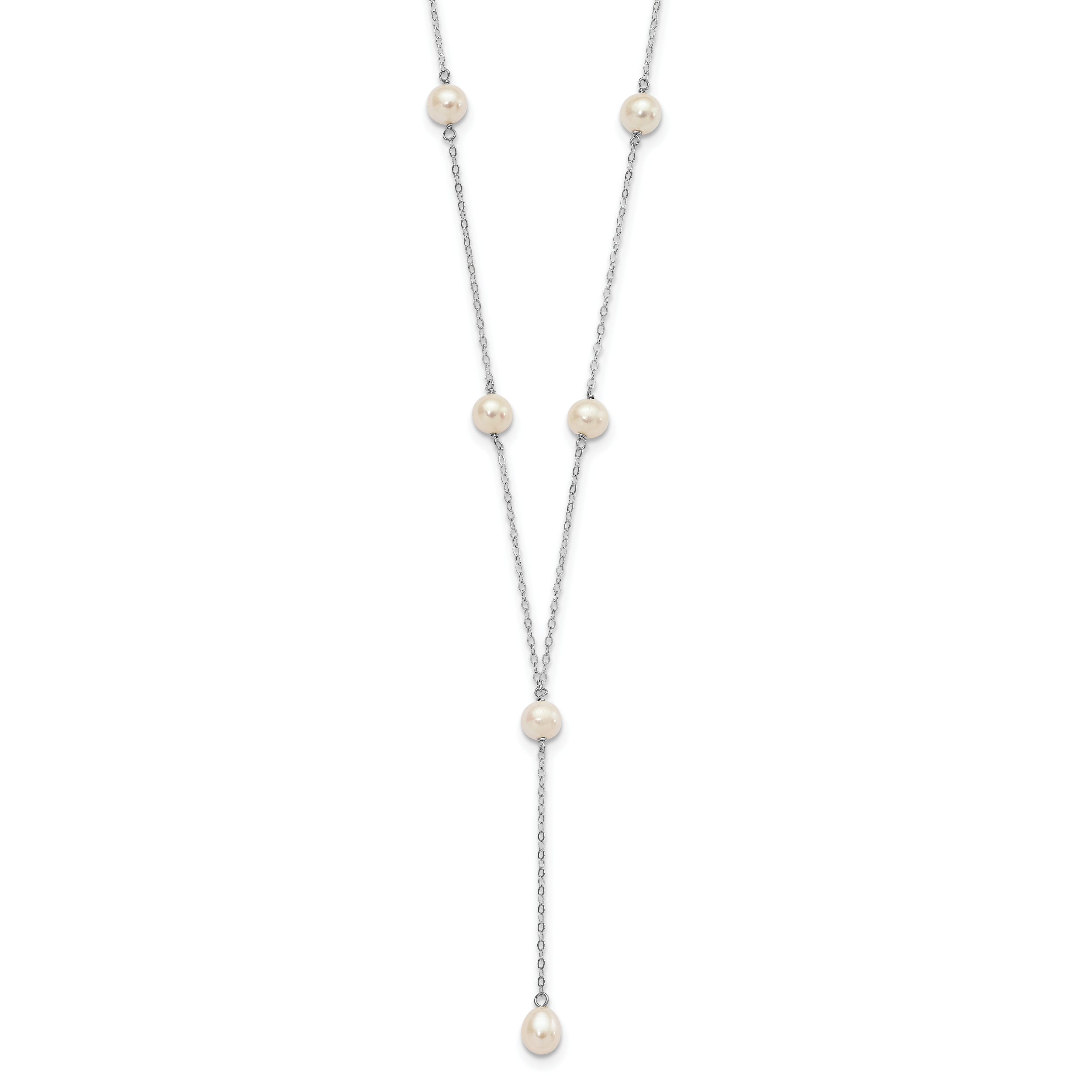 Jewelry Necklaces Pearls 14K WG 4-5mm White Near Round FW Cultured Pearl 8-station Necklace