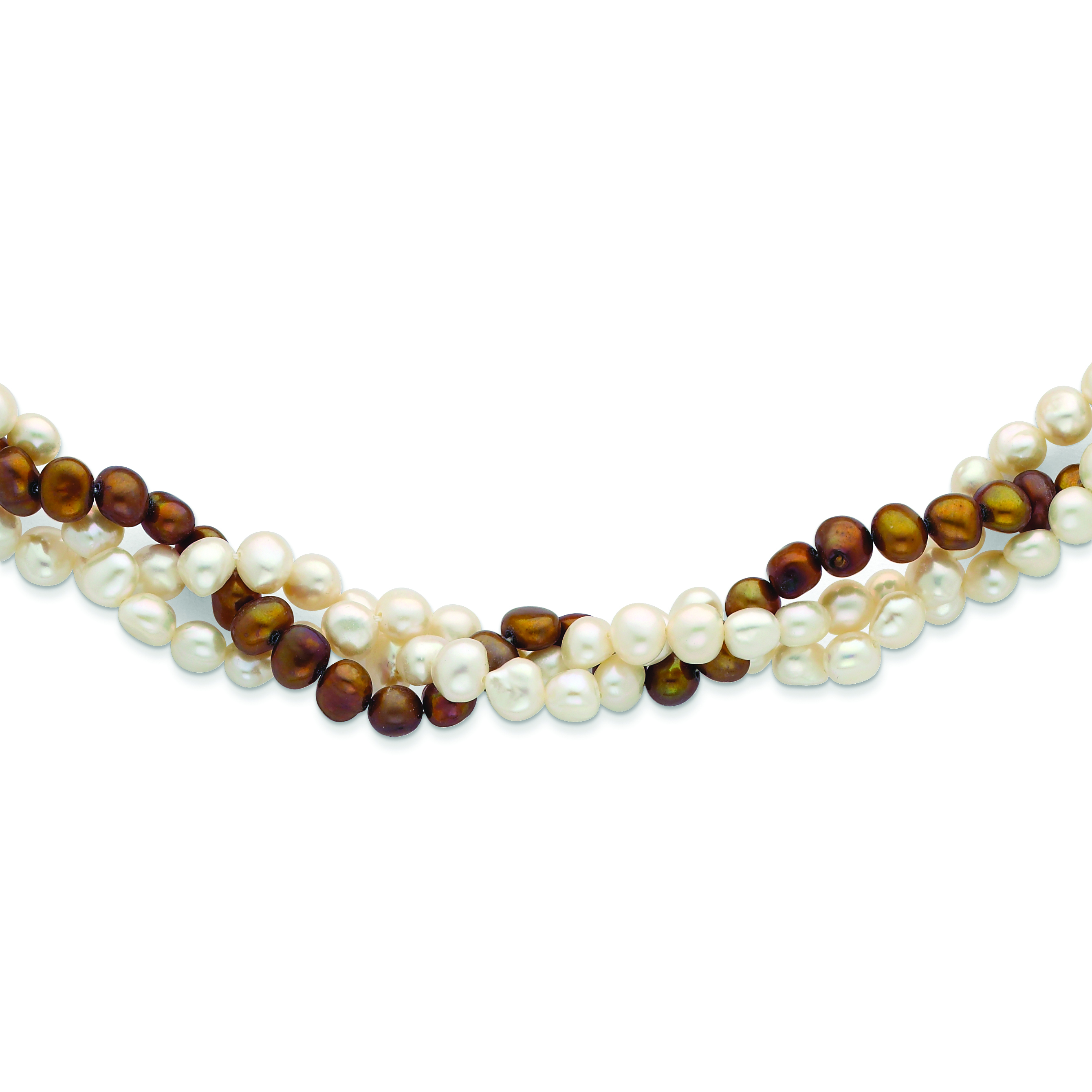 17 Inch 925 Sterling Silver Rhod-plat 6-7mm White Button Freshwater Cultured Pearl Necklace