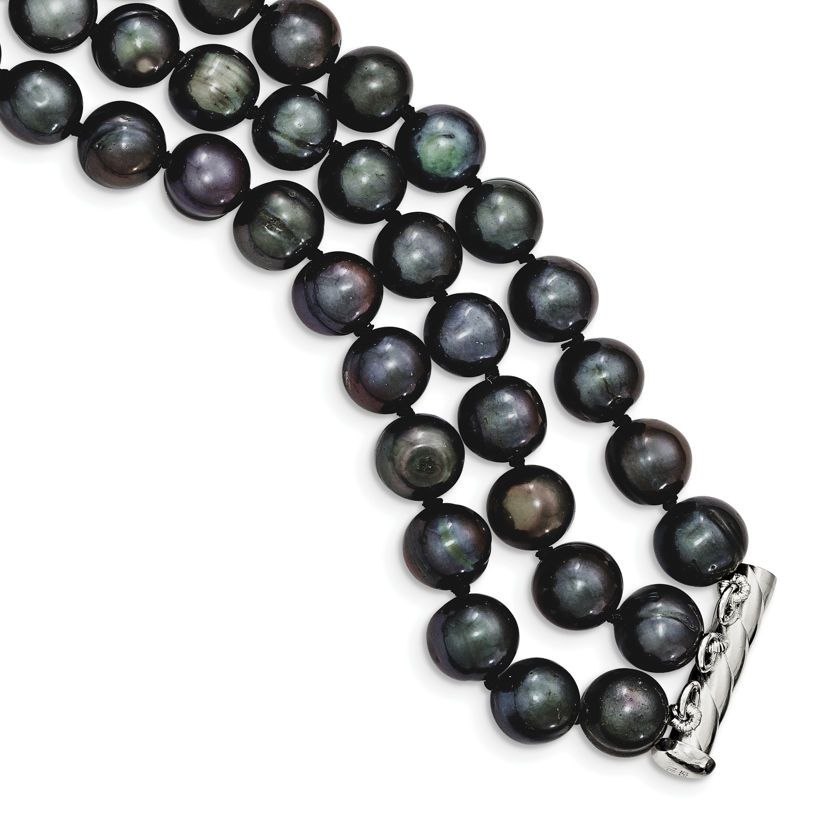 925 Sterling Silver 8-9mm Freshwater Cultured Pearl Black Necklace 17 Inch