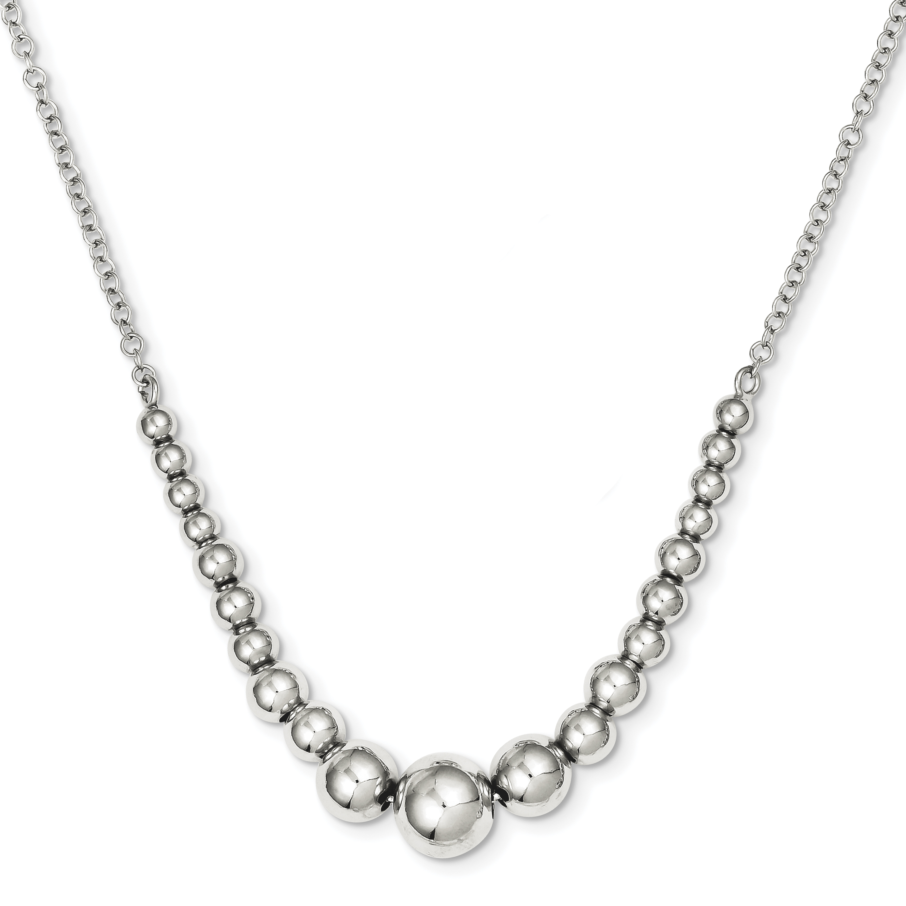 Sterling Silver Polished Graduated Bead Necklace | Weight: 5.38 grams, Length: 18mm, Width: mm