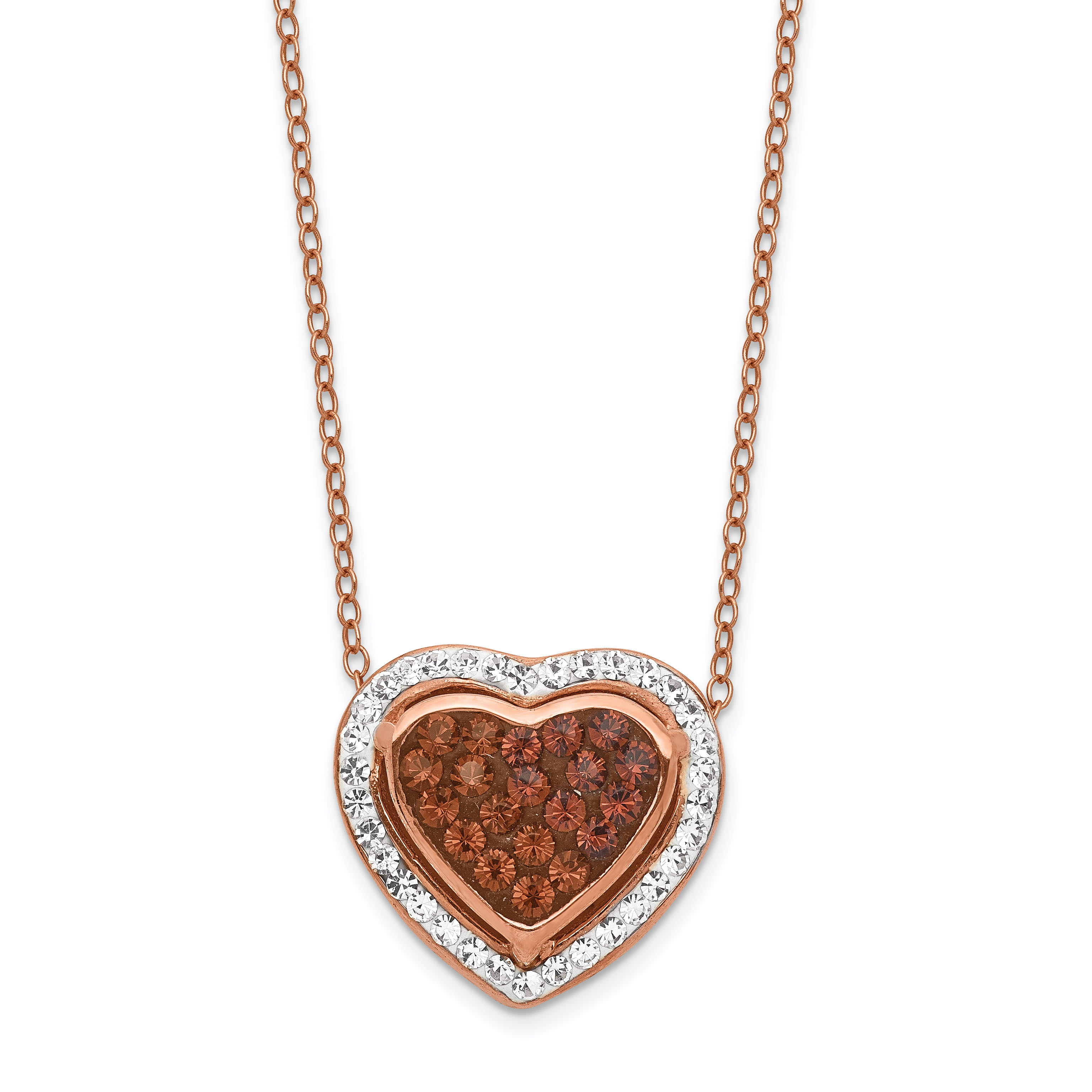 Sterling Silver Rose Gold Plated Stellux Crystal Heart Necklace | Weight: 3.15 grams, Length: 18mm, Width: mm