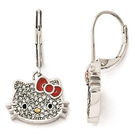 5c198e70a Sterling Silver Hello Kitty Crystal/Enamel Red Bow Leverback Earrings