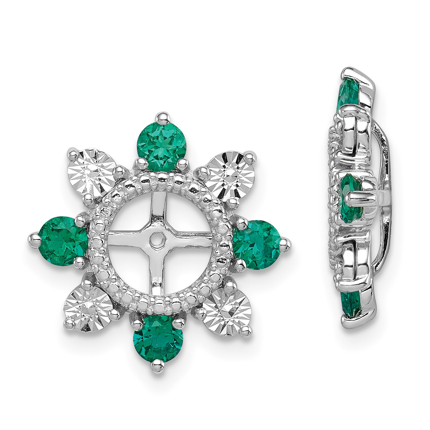 Image Is Loading Sterling Silver W Rhodium Plated Created Emerald Earring
