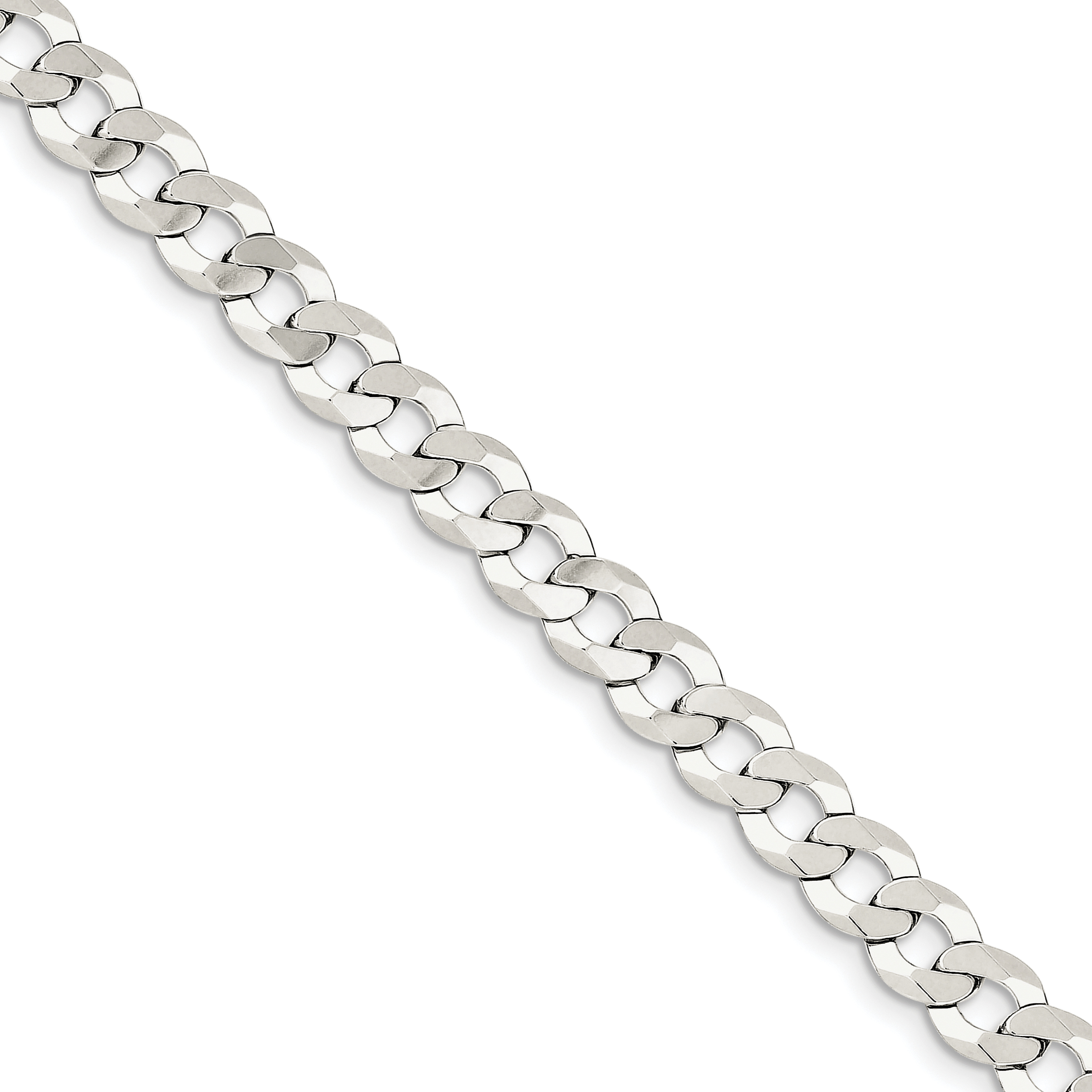 Sterling Silver 8mm Close Link Flat Curb Chain | Weight: 11.57 grams, Length: 8mm, Width: 8mm