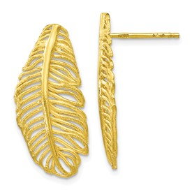 Sterling Silver Gold-tone Leaf Post Earrings
