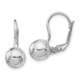 Sterling Silver Rhod Radiant Essence 8mm Ball Leverback Earrings