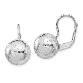 Sterling Silver Rhod Radiant Essence 12mm Ball Leverback Earrings