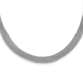 Sterling Silver Rhodium Plated Polished MultiStrand Bead Necklace