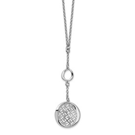 Sterling Silver Rhodium-plated Filigree w/ 1.5in ext Necklace