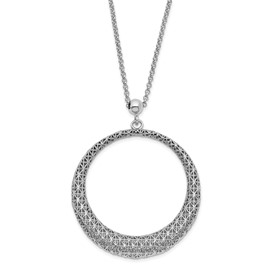 Sterling Silver Polished D/C Circle Pendant Necklace 2IN EXT